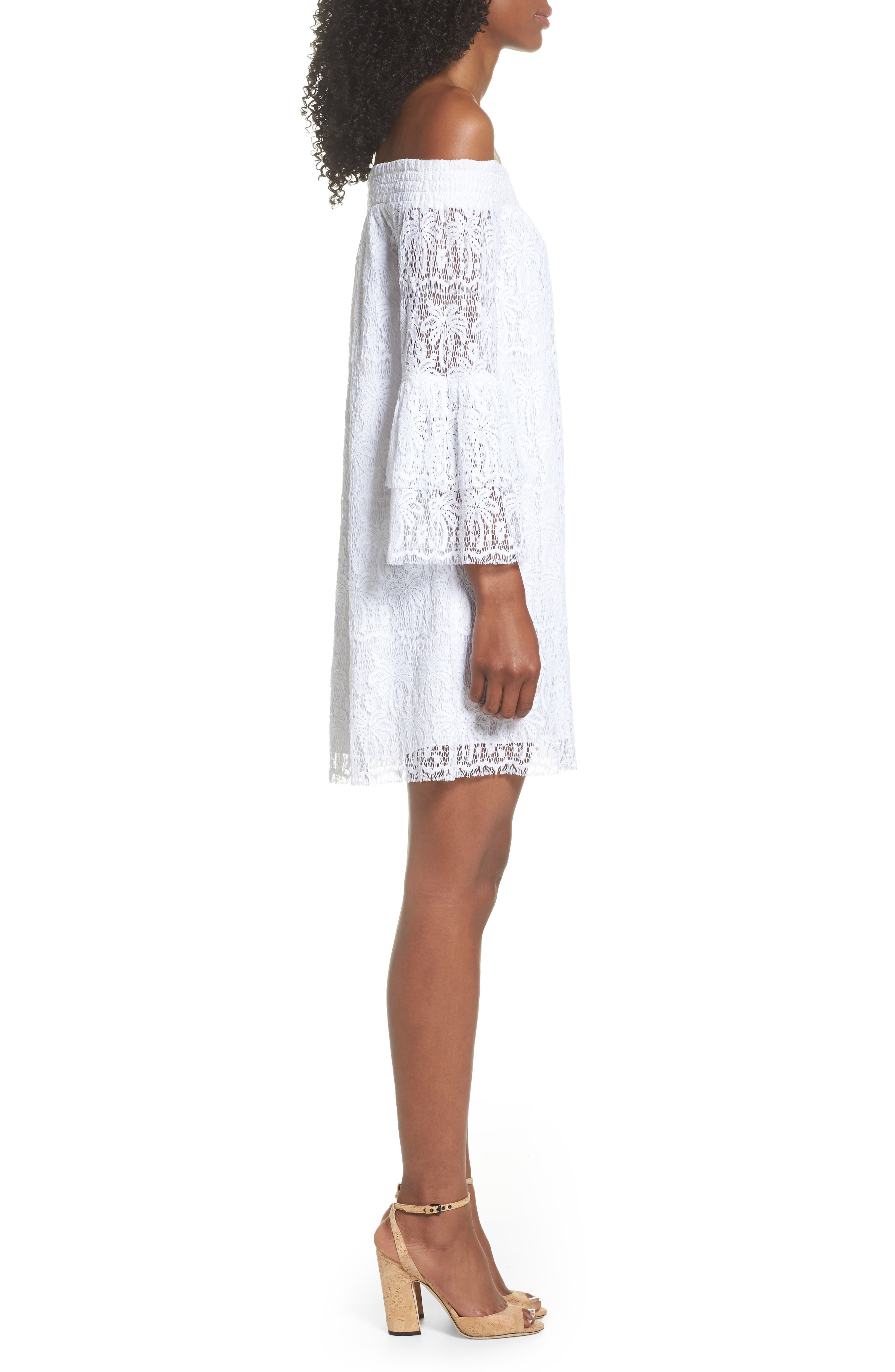 Tobyn Off the Shoulder Dres,                             Alternate thumbnail 3, color,                             Resort White Palm Tree Lace