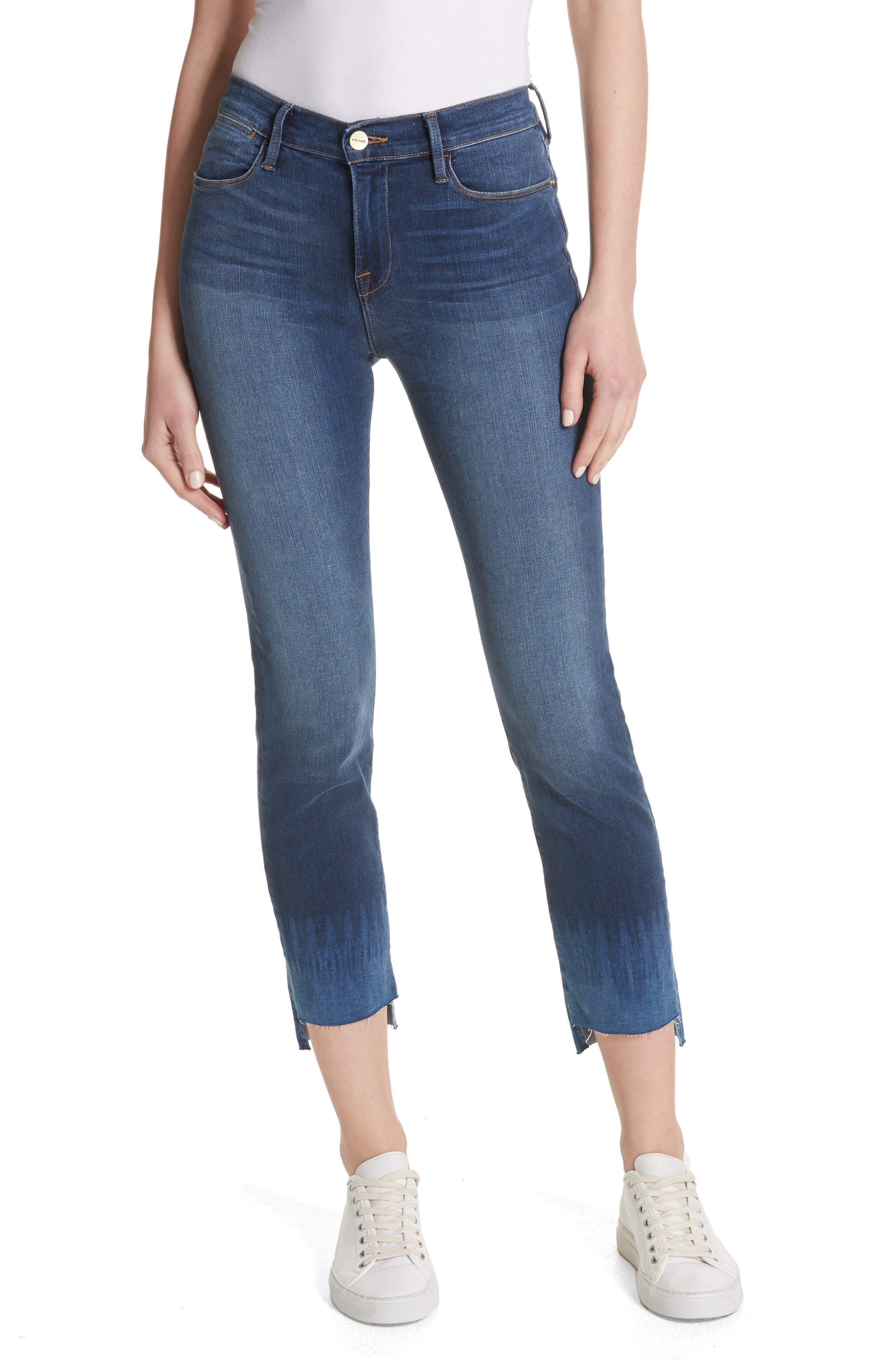 Le High Crop Straight Leg Jeans,                             Main thumbnail 1, color,                             Baynes Court