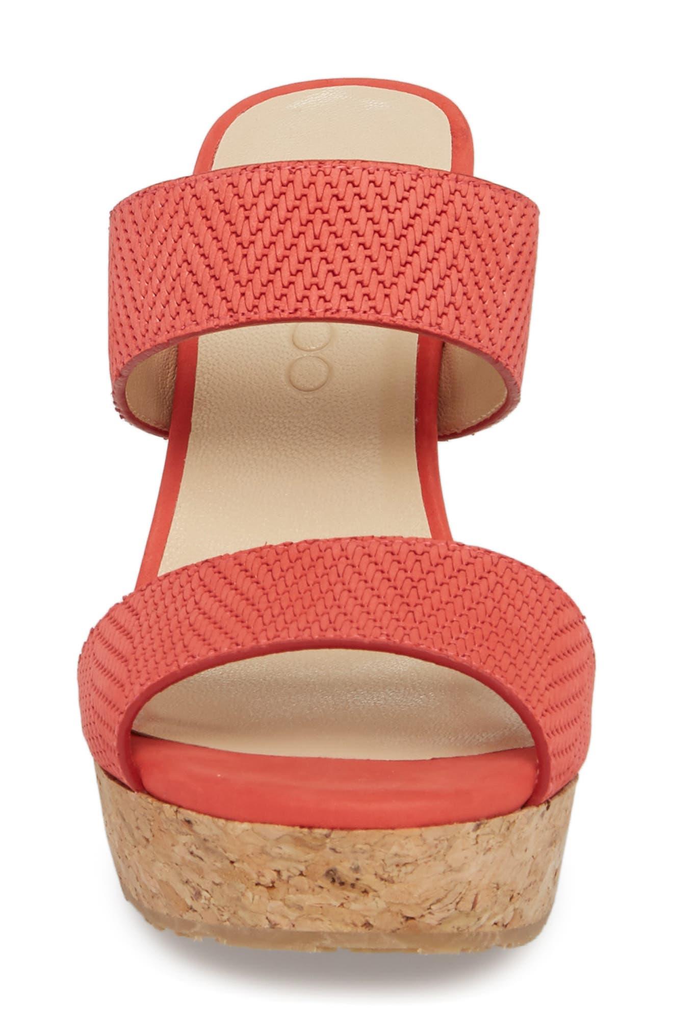 Parker Wedge Slide Sandal,                             Alternate thumbnail 3, color,                             Flamingo Red