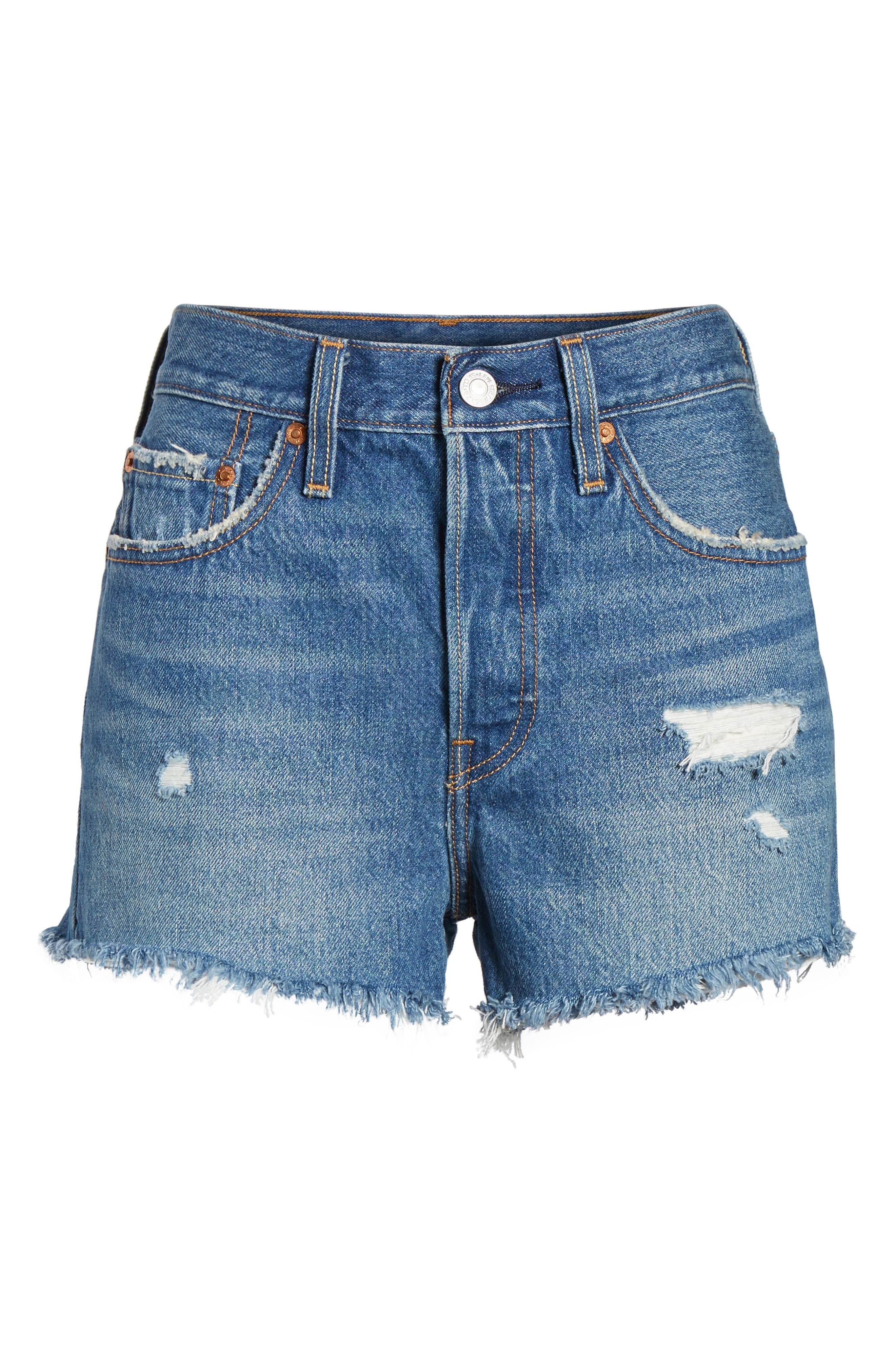501<sup>®</sup> High Waist Cutoff Denim Shorts,                             Alternate thumbnail 5, color,                             Drive Me Crazy