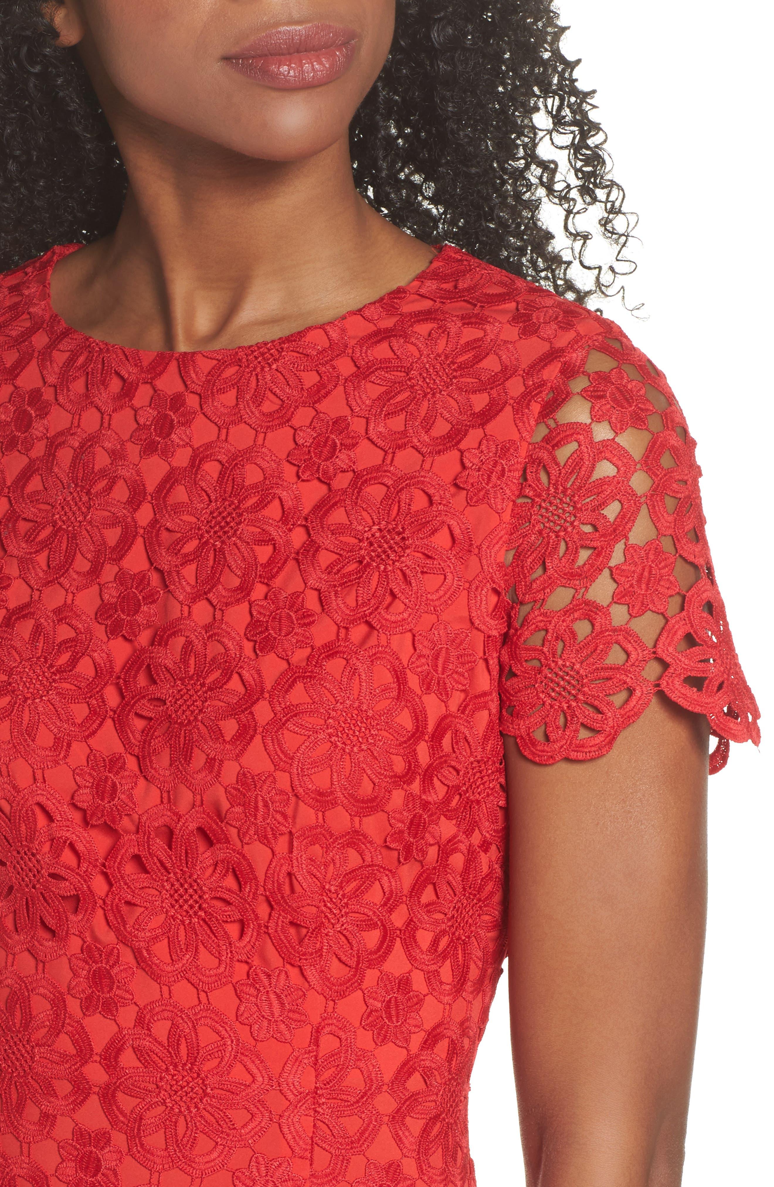 Ruffle Hem Lace Sheath Dress,                             Alternate thumbnail 5, color,                             Red