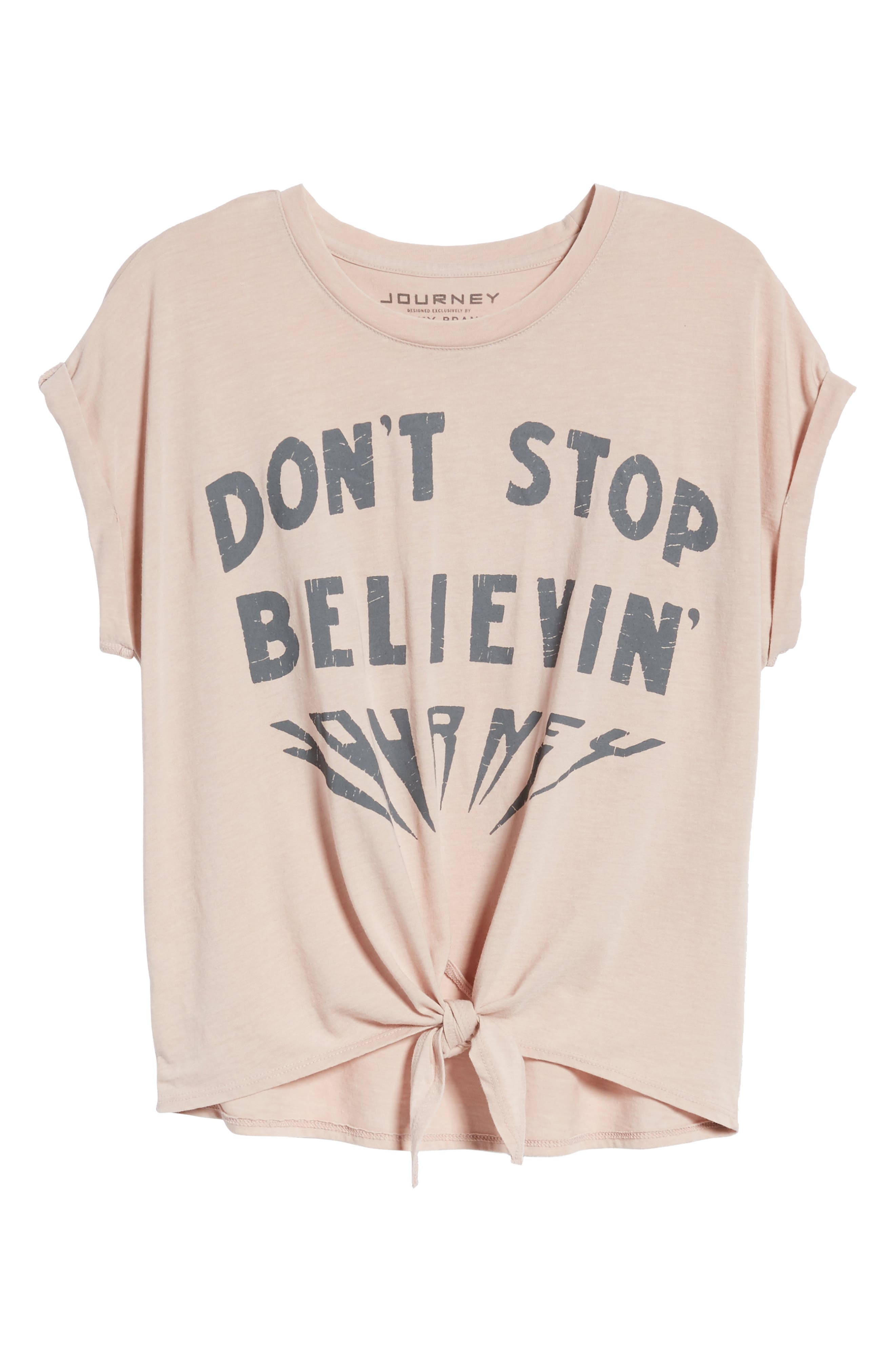 Don't Stop Believing Tie-Front Tee,                             Alternate thumbnail 7, color,                             Shadow Grey