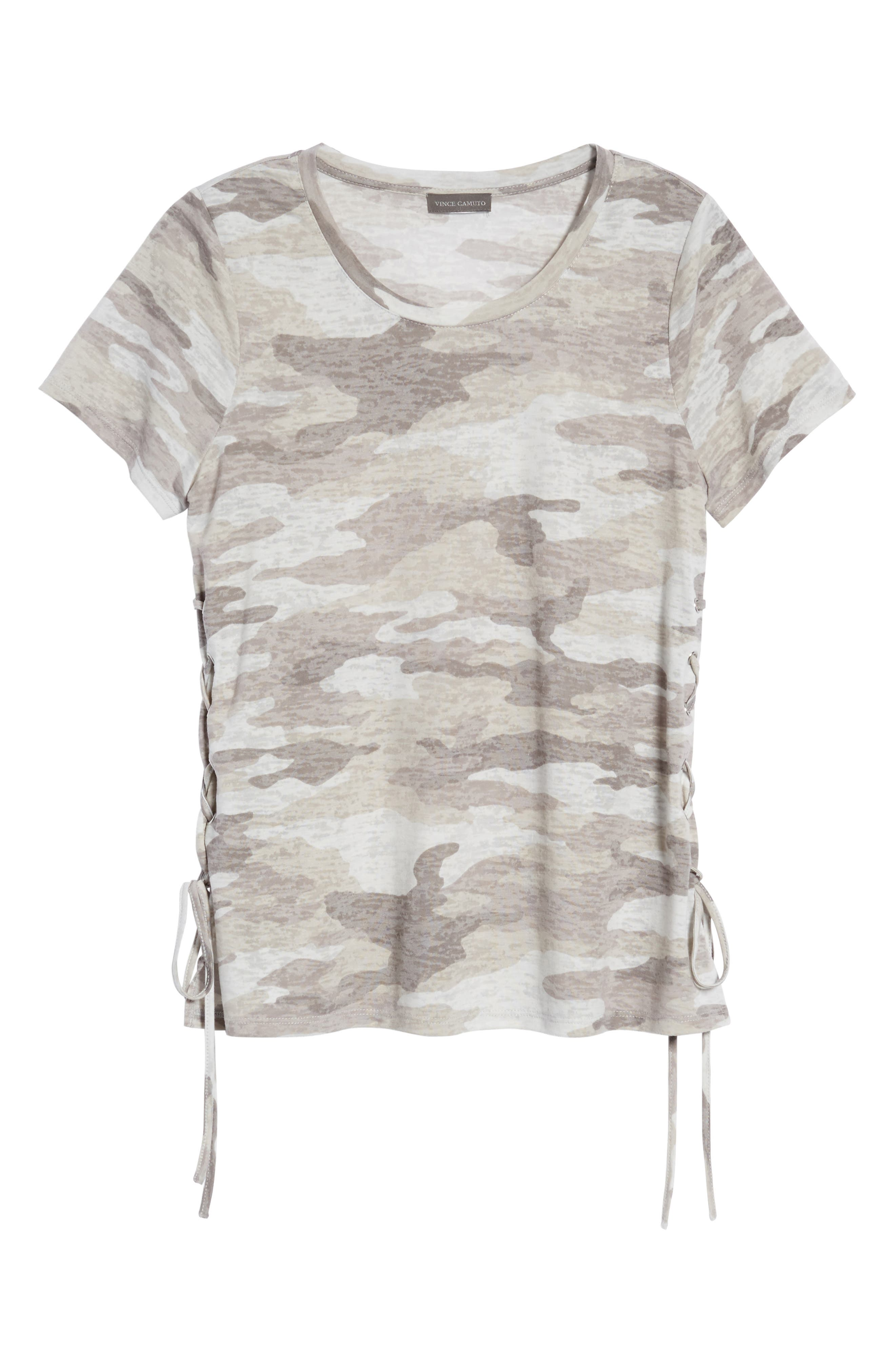 Avenue Side Lace-Up Camo Tee,                             Alternate thumbnail 6, color,                             Midnight Fog