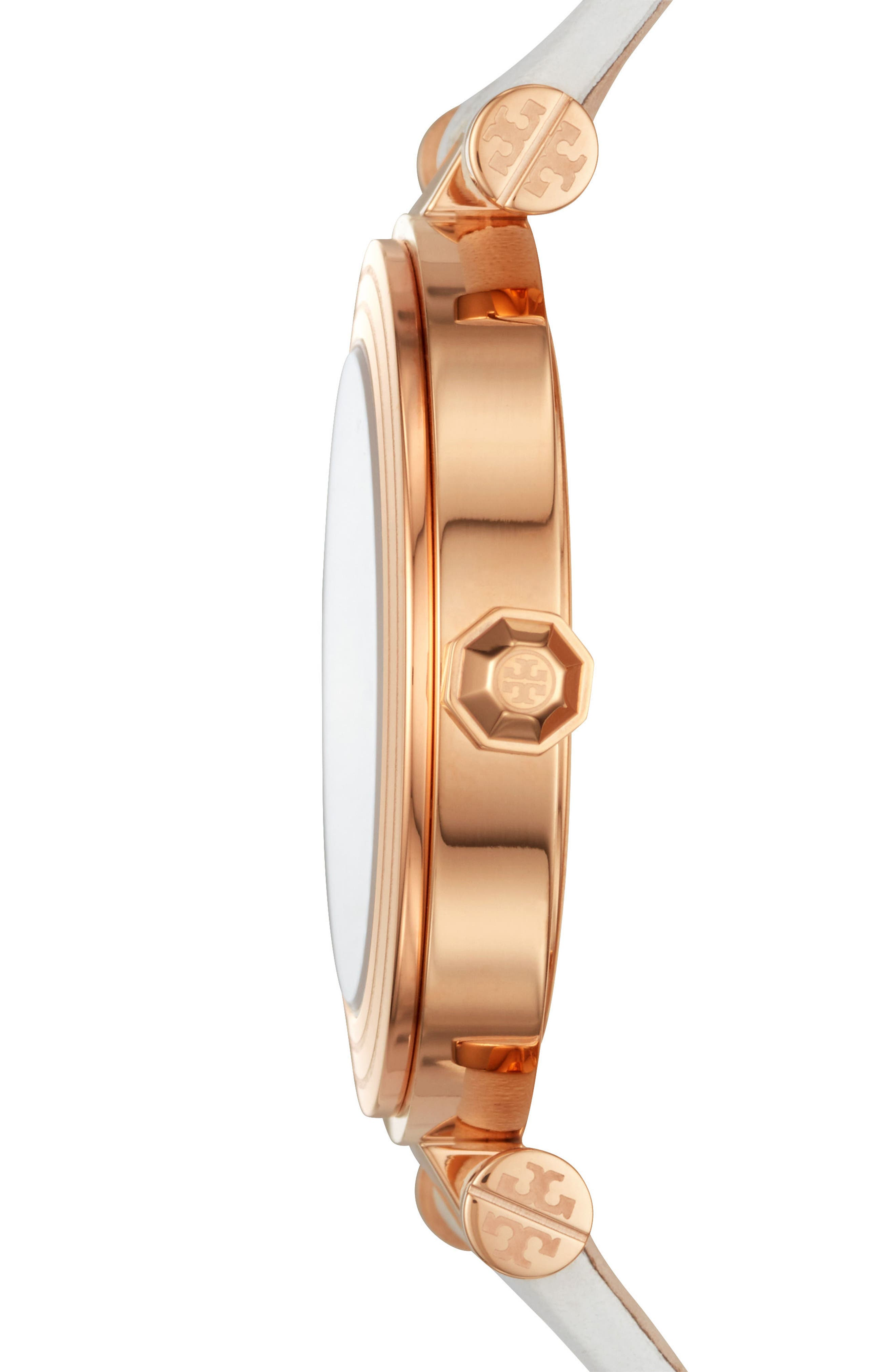 Classic-T Leather Strap Watch, 36mm,                             Alternate thumbnail 2, color,                             White/ Cream/ Rose Gold