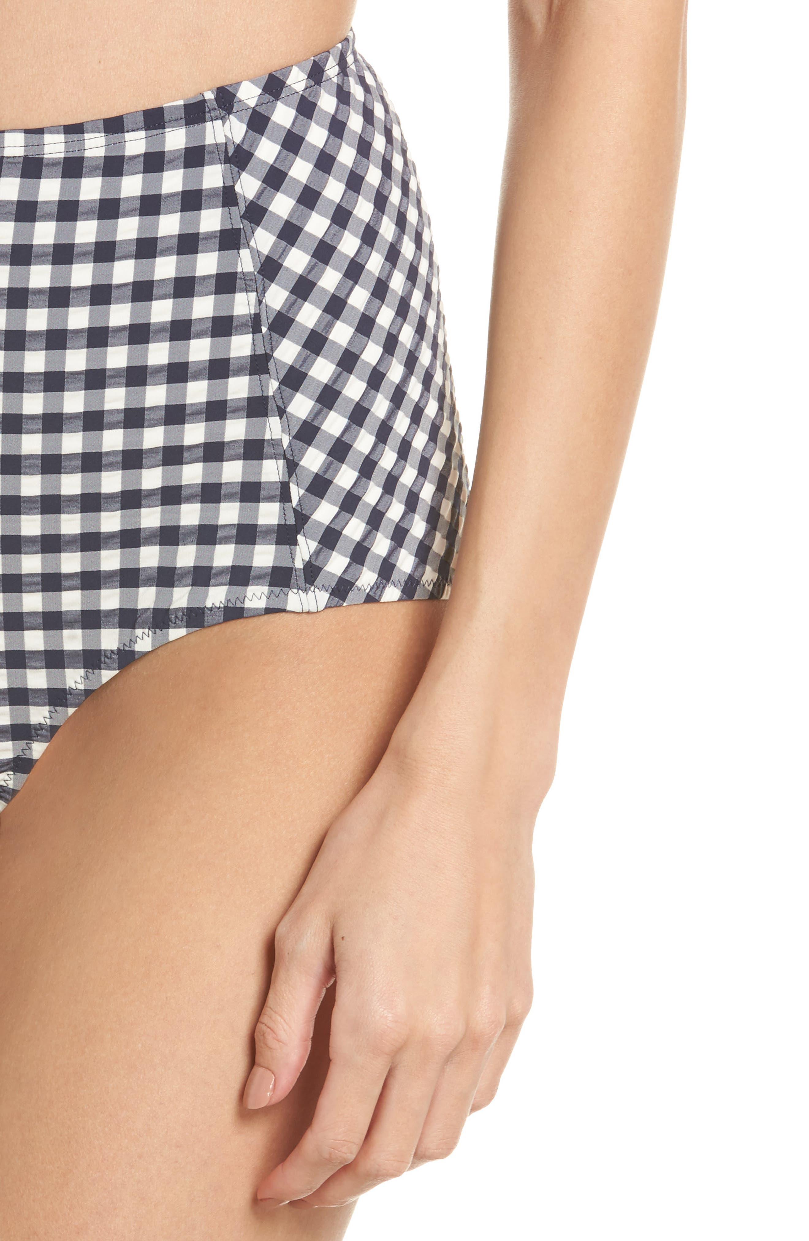 Gingham High Waist Bikini Bottoms,                             Alternate thumbnail 4, color,                             Tory Navy / White