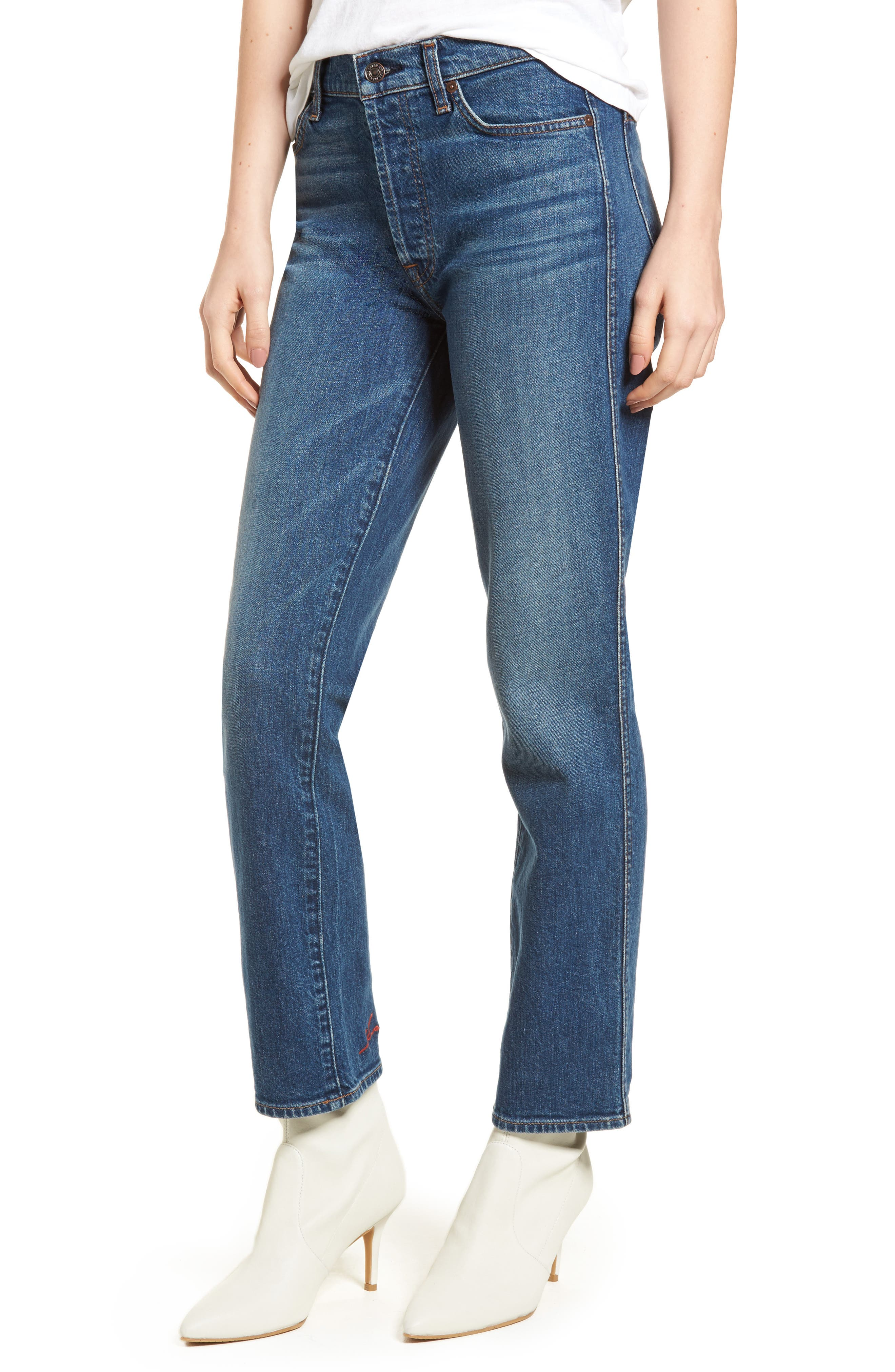 Edie High Waist Crop Straight Leg Jeans,                         Main,                         color, Montreal W/ Embroidery