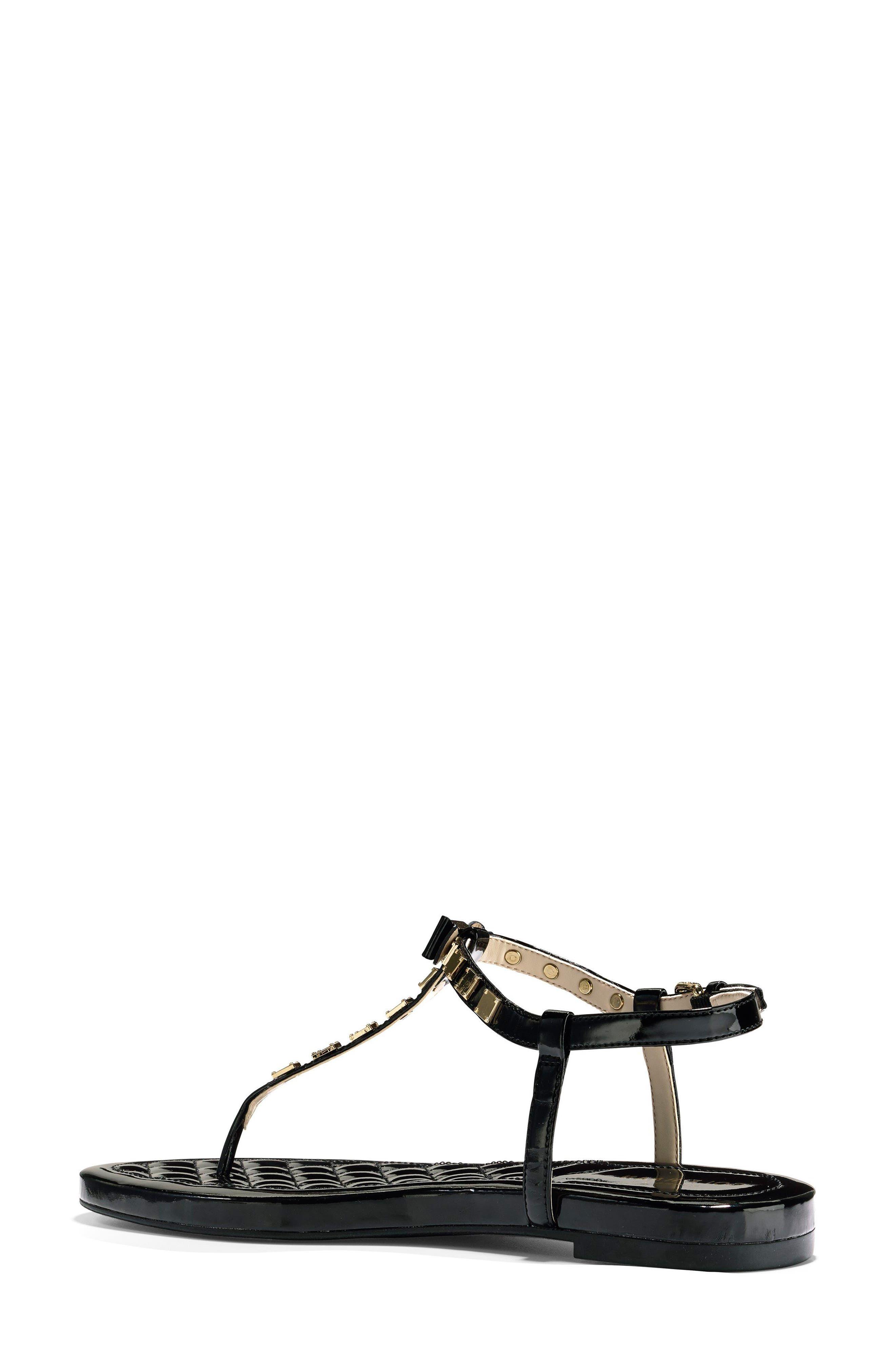 Tali Mini Bow Sandal,                             Alternate thumbnail 2, color,                             Black Patent