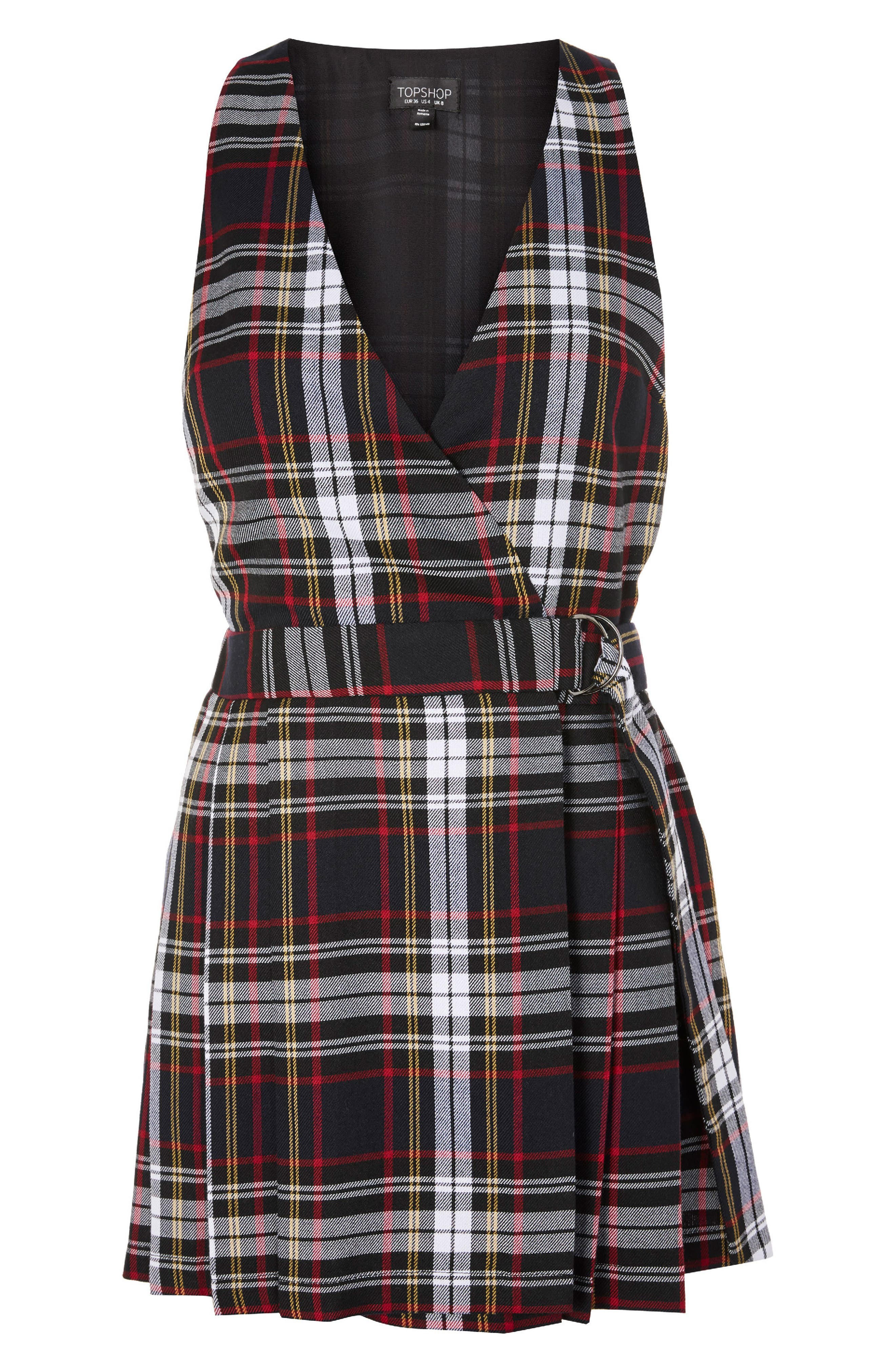 Tartan Pinafore Minidress,                             Alternate thumbnail 3, color,                             Black Multi