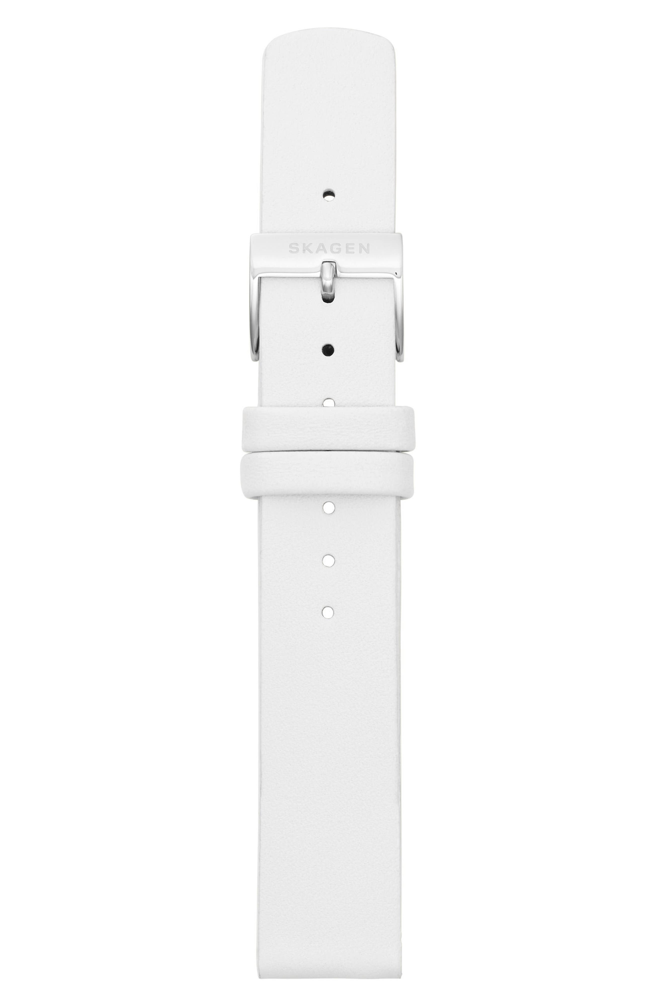 Leather Watch Strap, 16mm,                             Alternate thumbnail 2, color,                             White