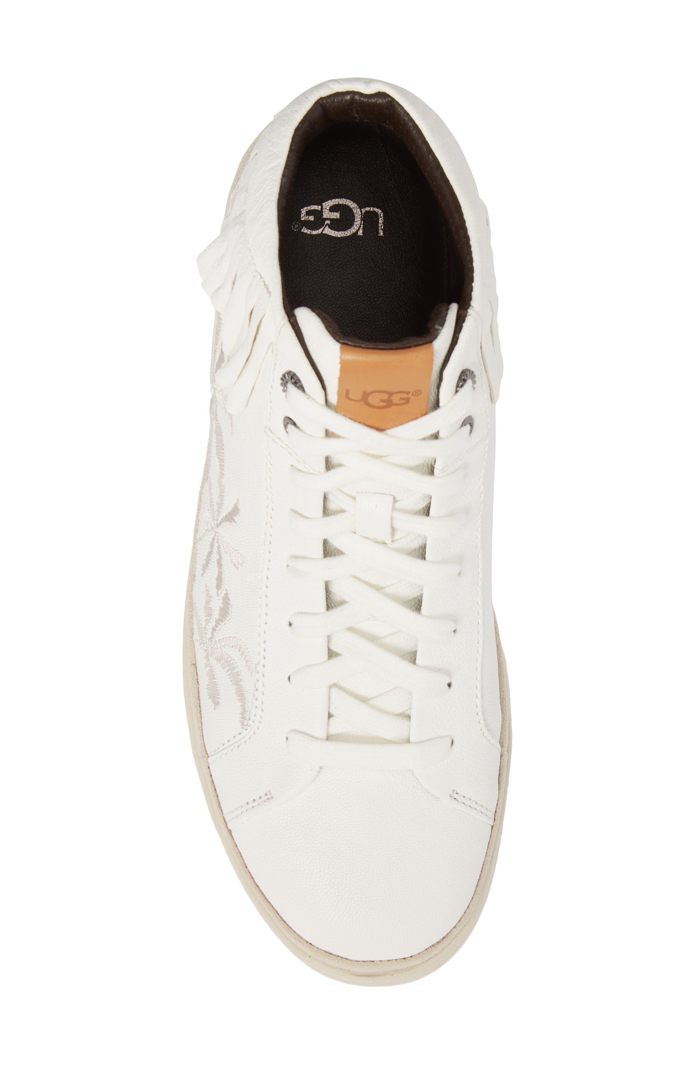 Cali Fringe High Top Sneaker,                             Alternate thumbnail 5, color,                             White Leather