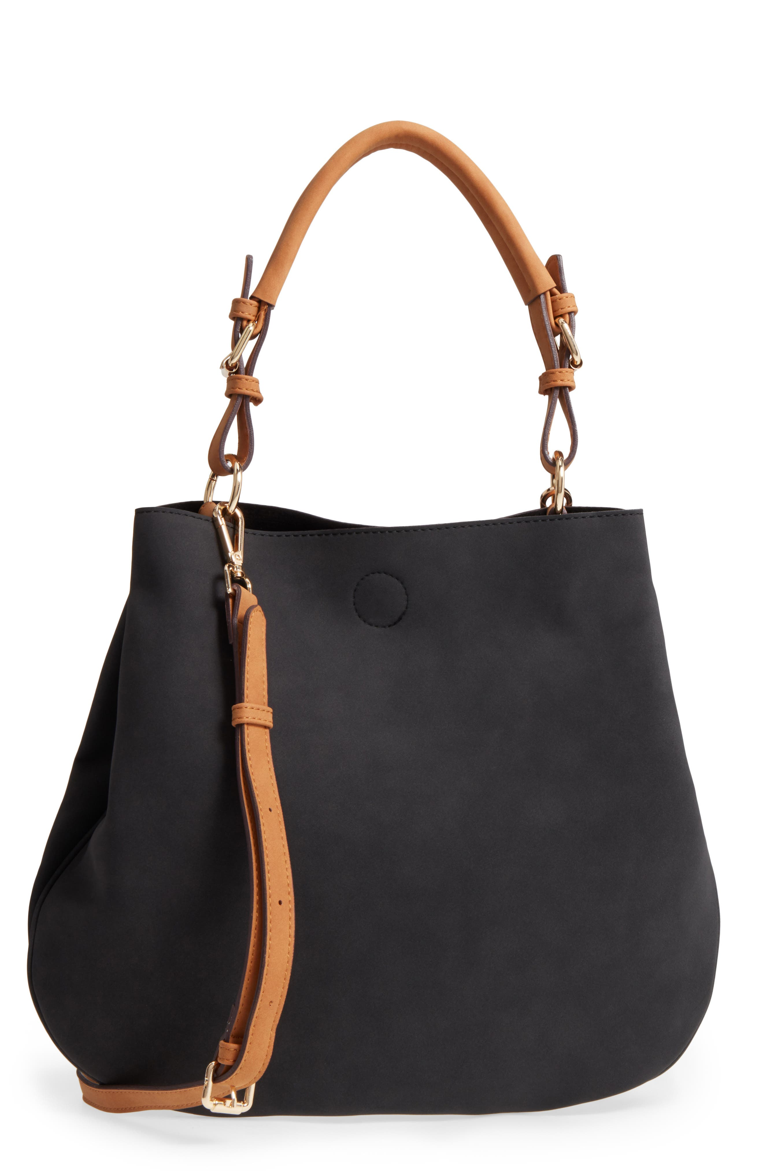 Roman Faux Leather Slouchy Tote,                             Main thumbnail 1, color,                             Black Combo