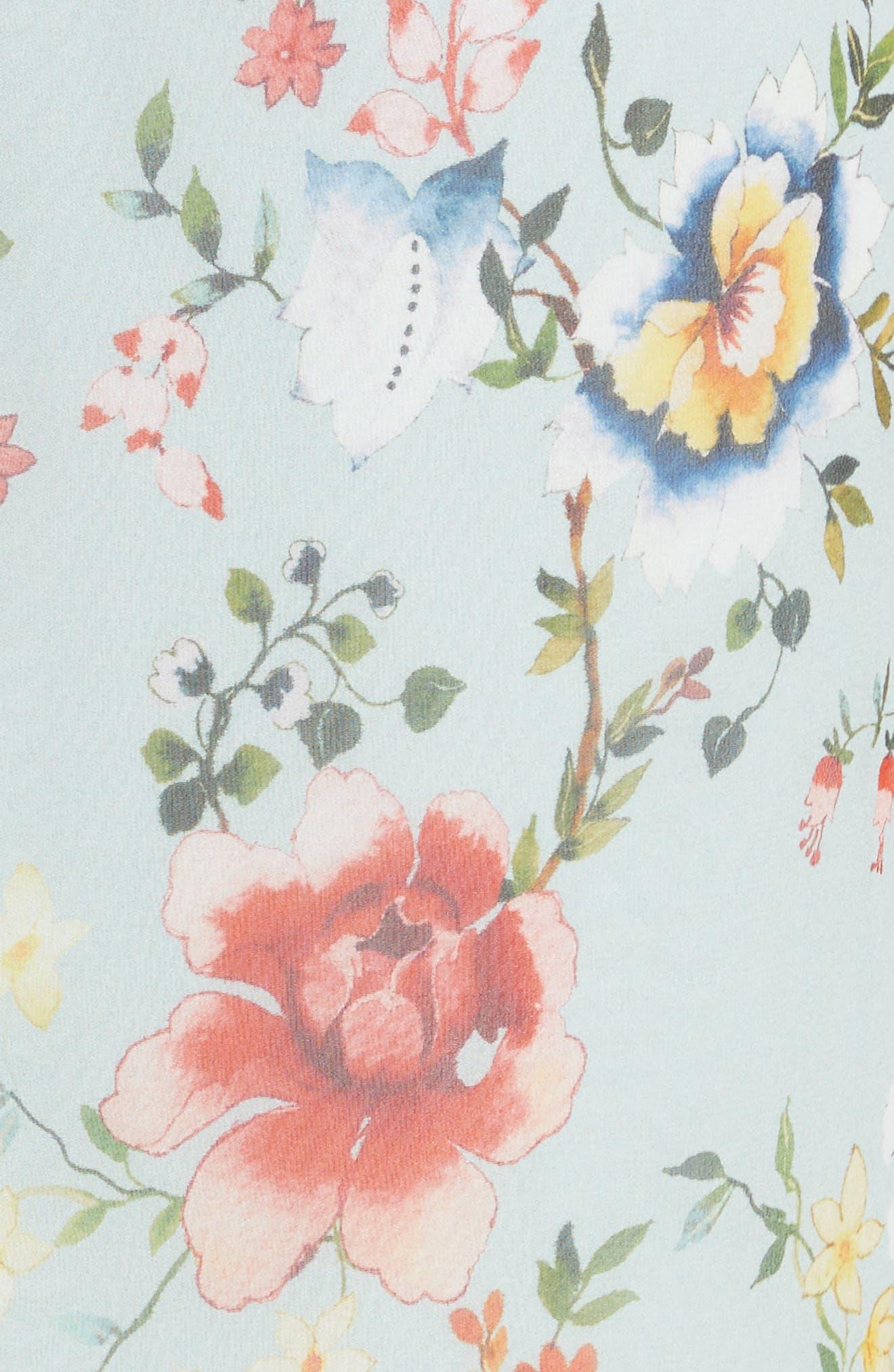 Mable Floral Silk Midi Dress,                             Alternate thumbnail 5, color,                             Floral Soiree-Dusty Aqua