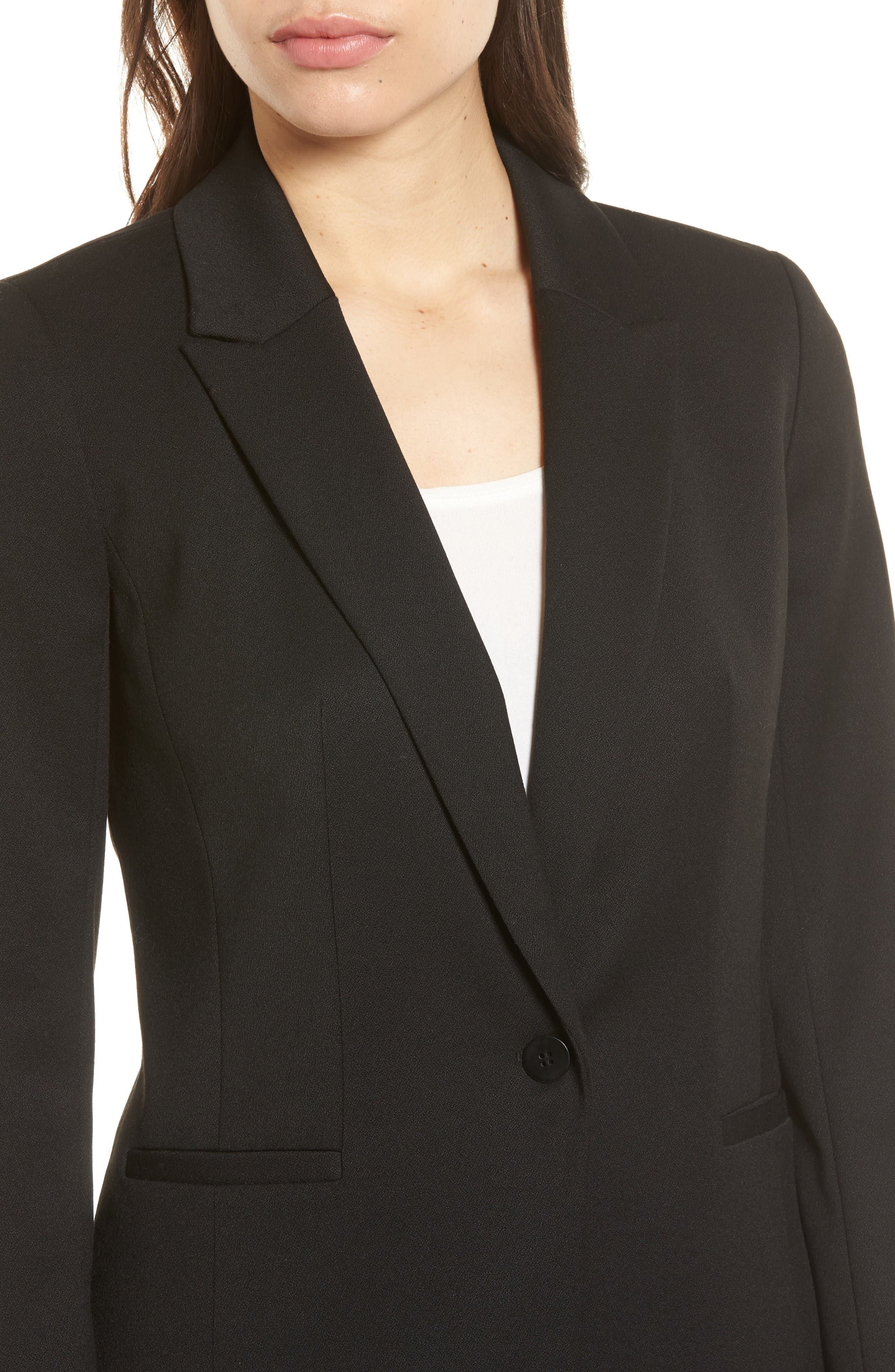 Stretch Crepe Suit Jacket,                             Alternate thumbnail 4, color,                             Black