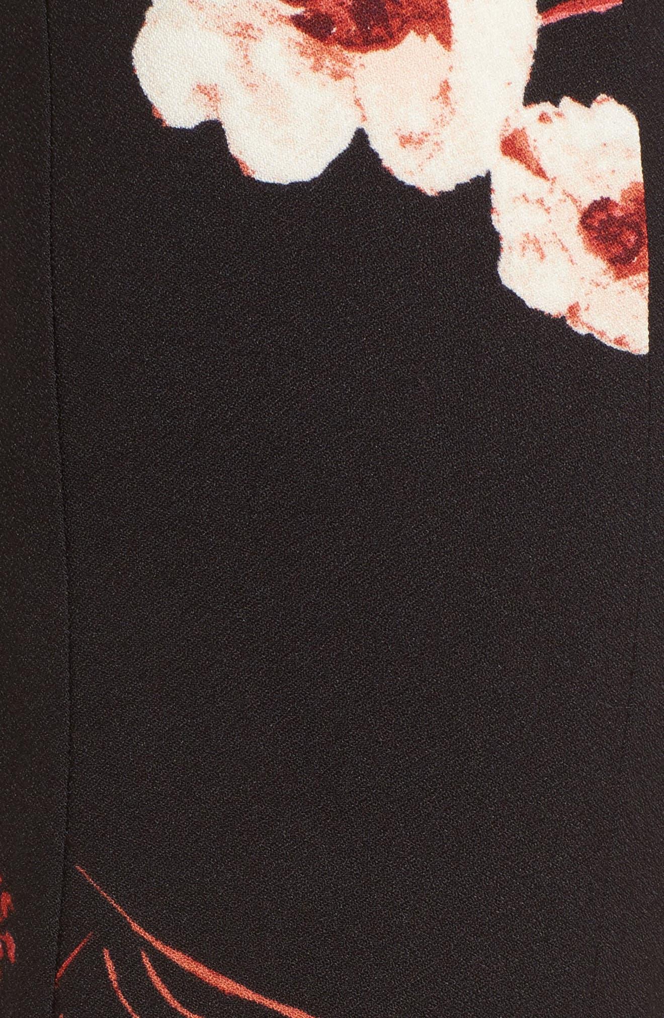 Flare Wide Leg Pants,                             Alternate thumbnail 5, color,                             Black Paint Flr