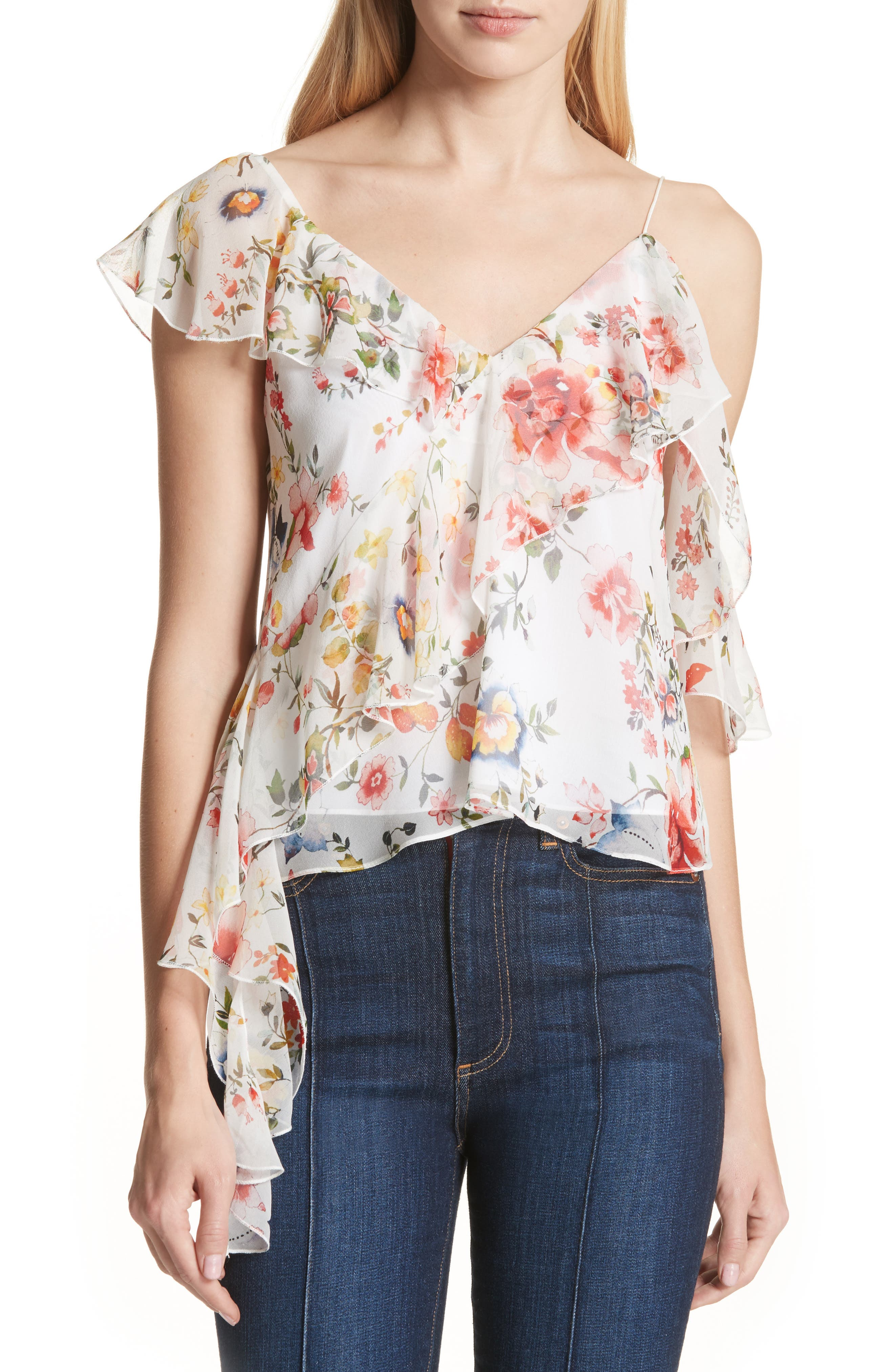Pauline Asymmetrical Silk Tank,                         Main,                         color, Floral Soiree-Off White