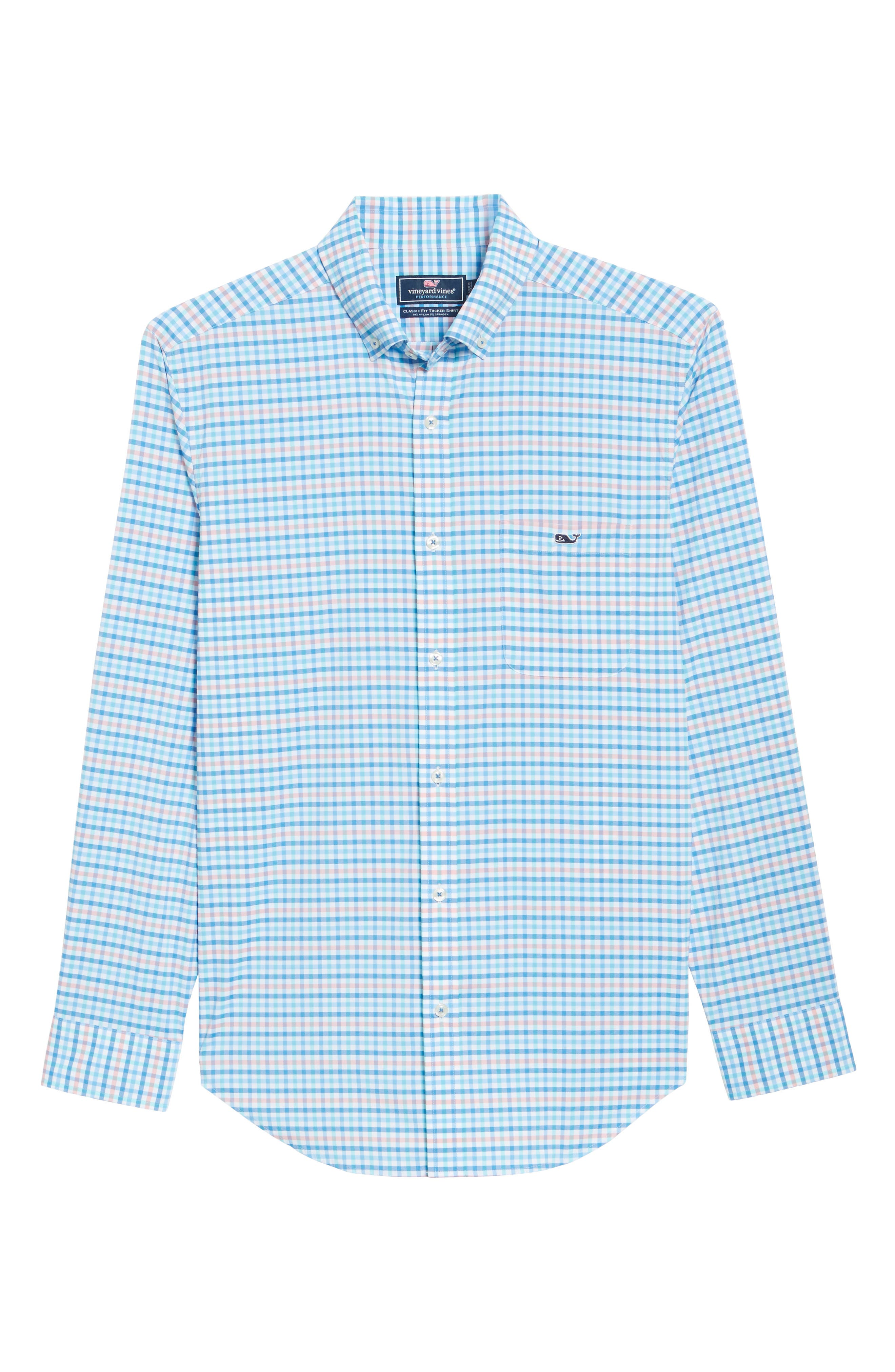 Coco Bay Classic Fit Check Performance Sport Shirt,                             Alternate thumbnail 6, color,                             Ocean Breeze