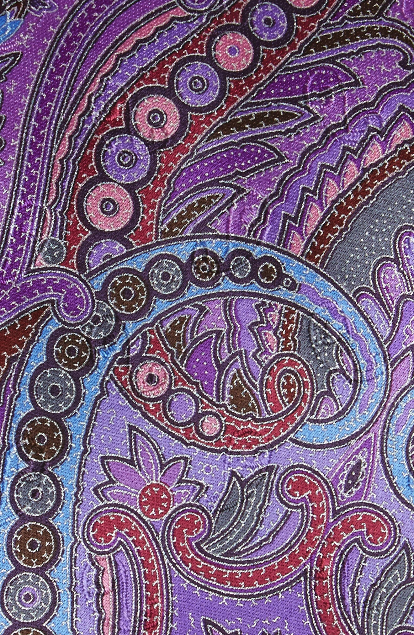 Quindici Paisley Silk Tie,                             Alternate thumbnail 2, color,                             Purple
