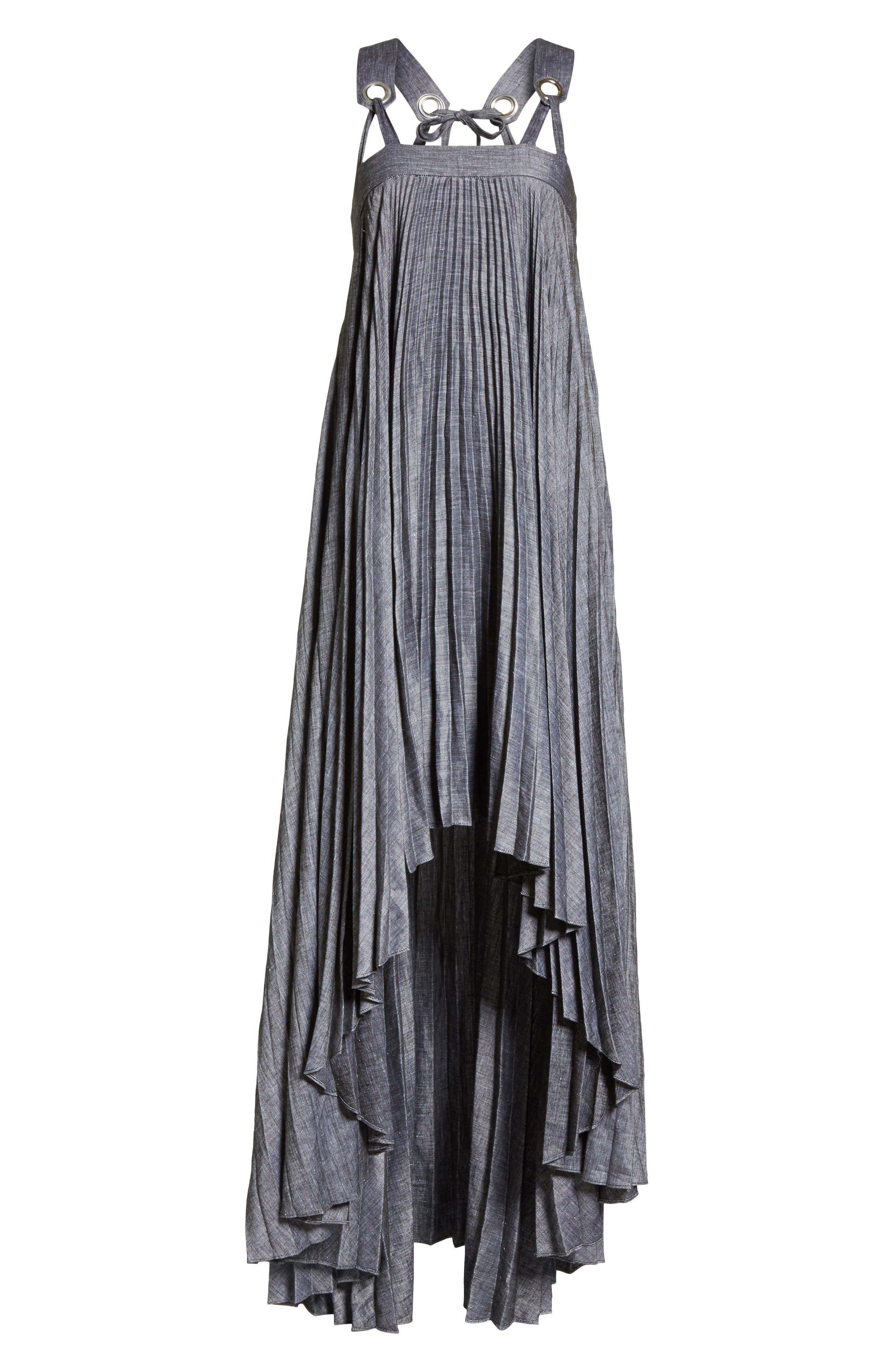 Sawyer High/Low Linen Blend Dress,                             Alternate thumbnail 6, color,                             Olive