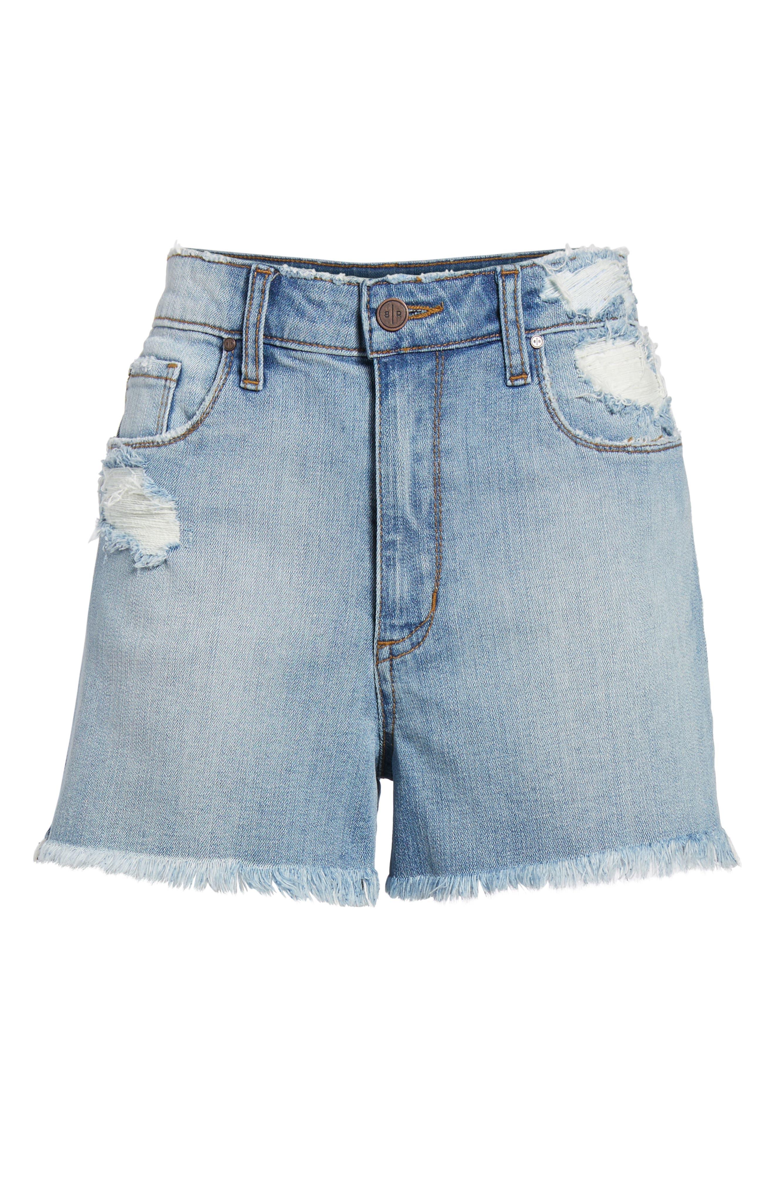 High Waist Distressed Denim Shorts,                             Alternate thumbnail 6, color,                             Medium Wash