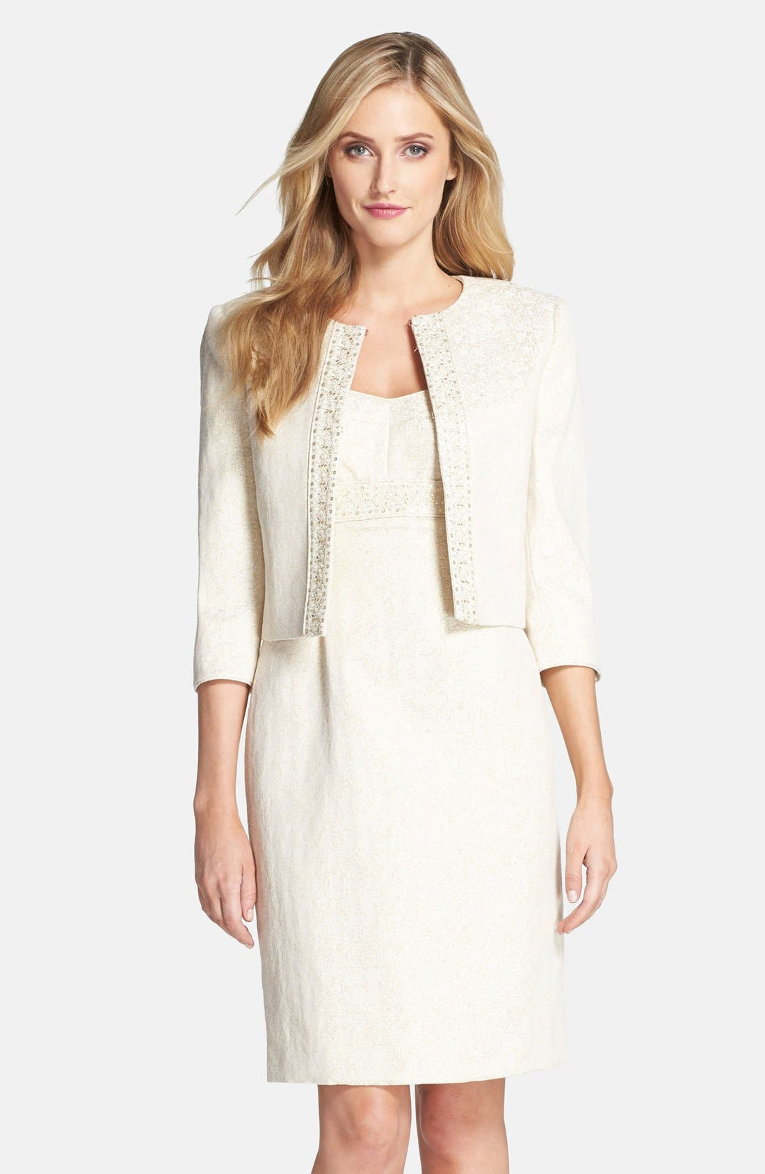 Alternate Image 1 Selected - Tahari Metallic Jacquard Jacket & Dress