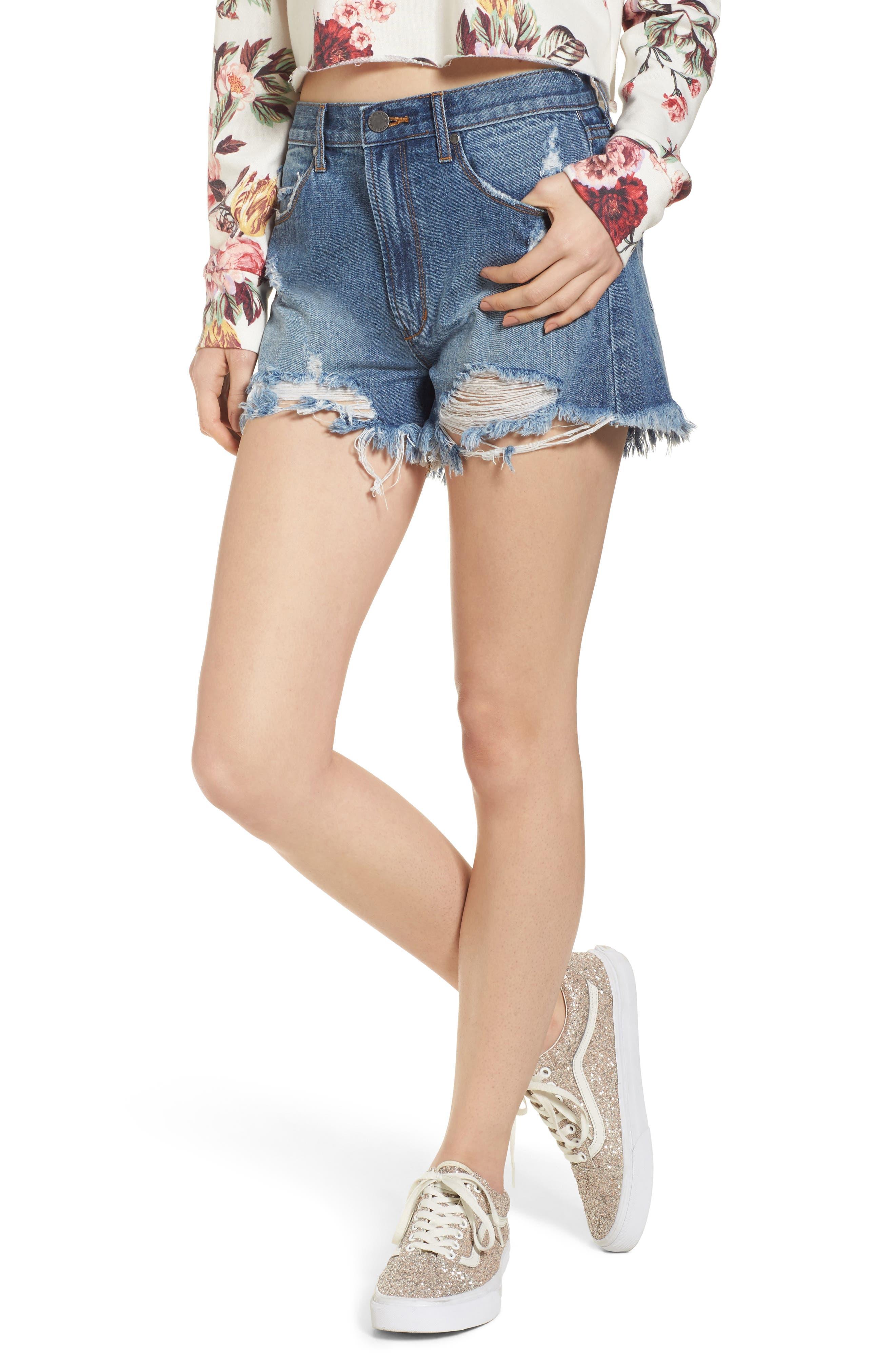 Meredith Destroyed Hem Denim Shorts,                         Main,                         color, Valencia