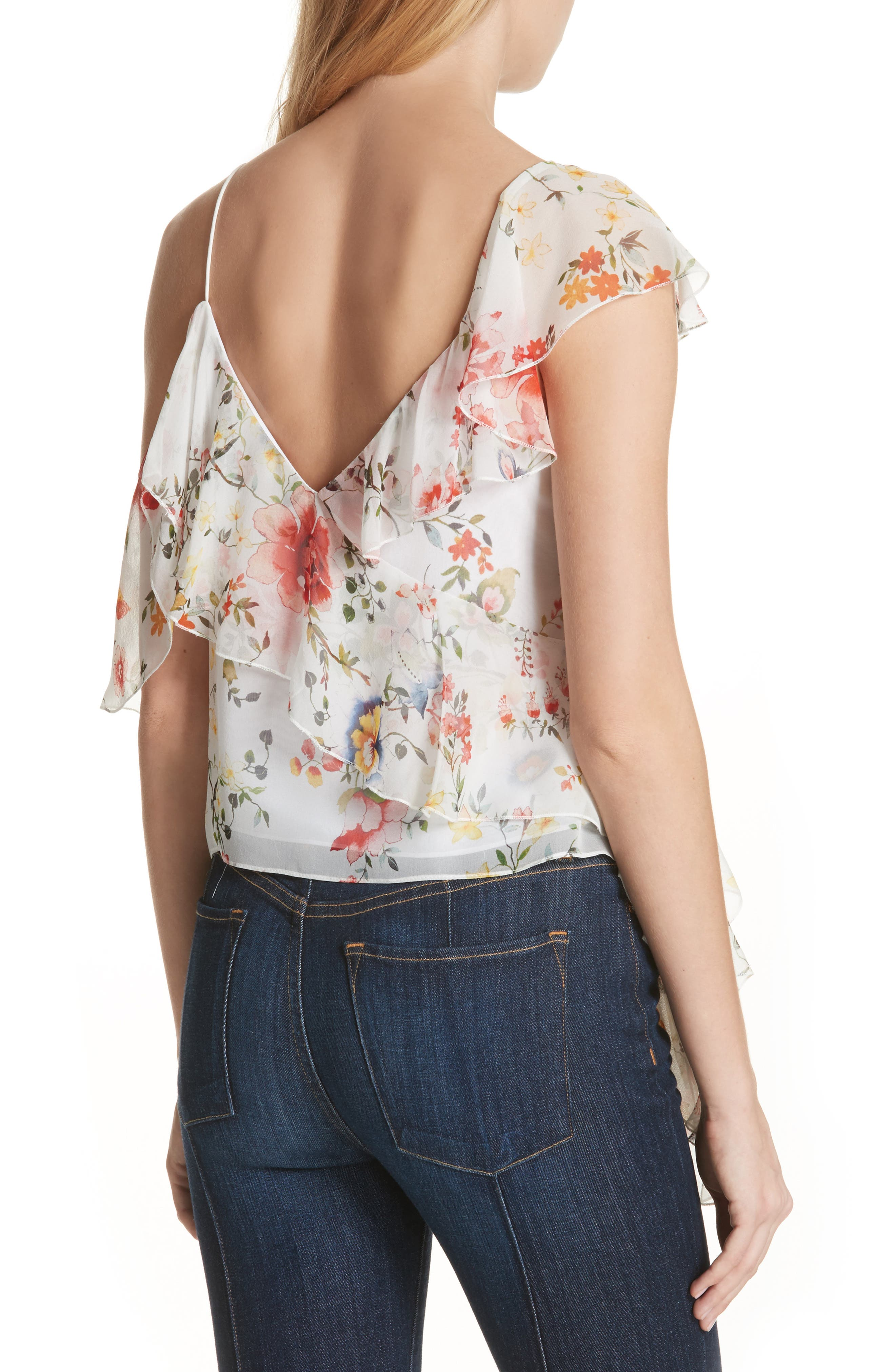 Pauline Asymmetrical Silk Tank,                             Alternate thumbnail 2, color,                             Floral Soiree-Off White