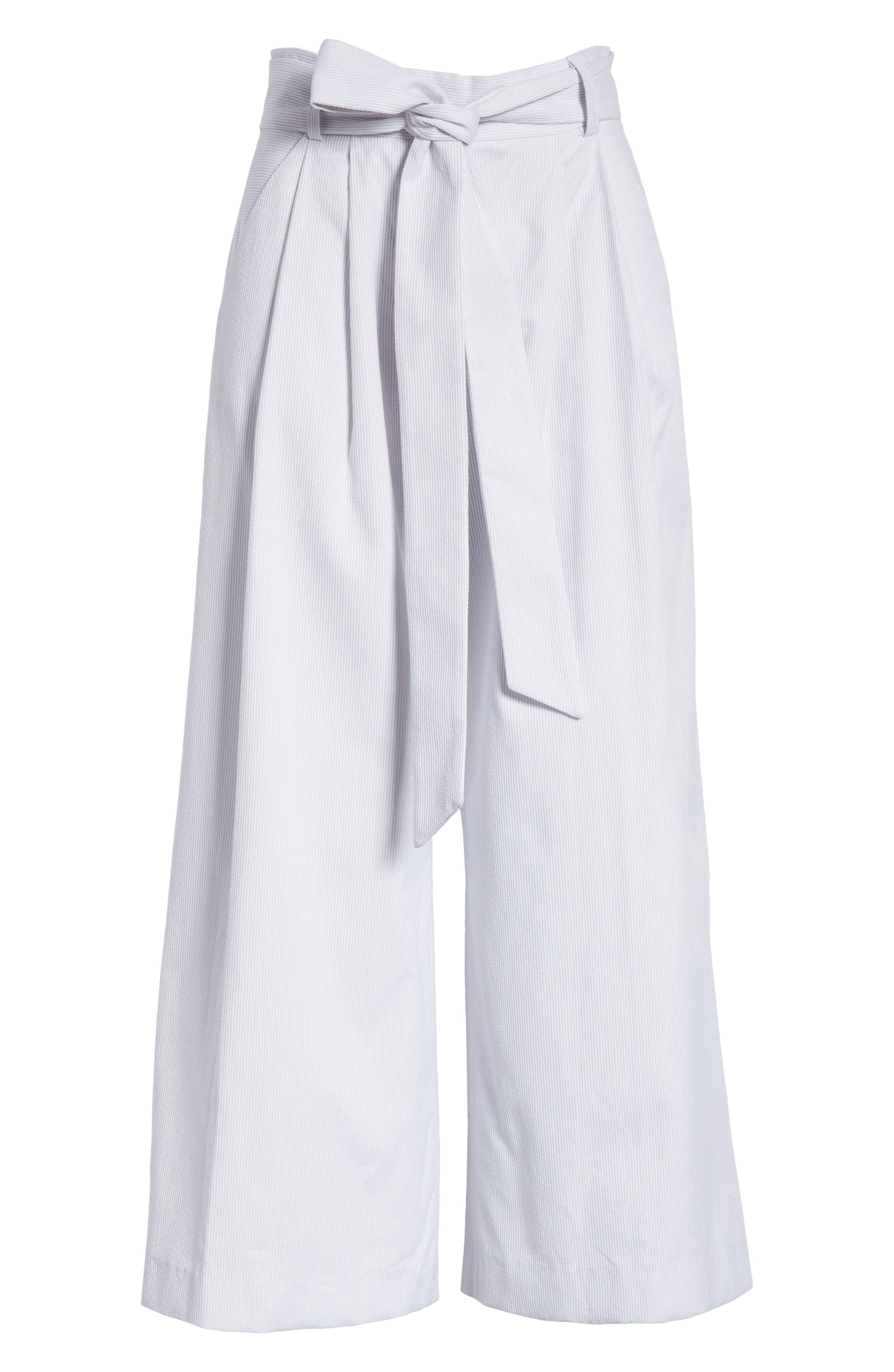 Natalie Crop Tie Waist Pants,                             Alternate thumbnail 7, color,                             Grey