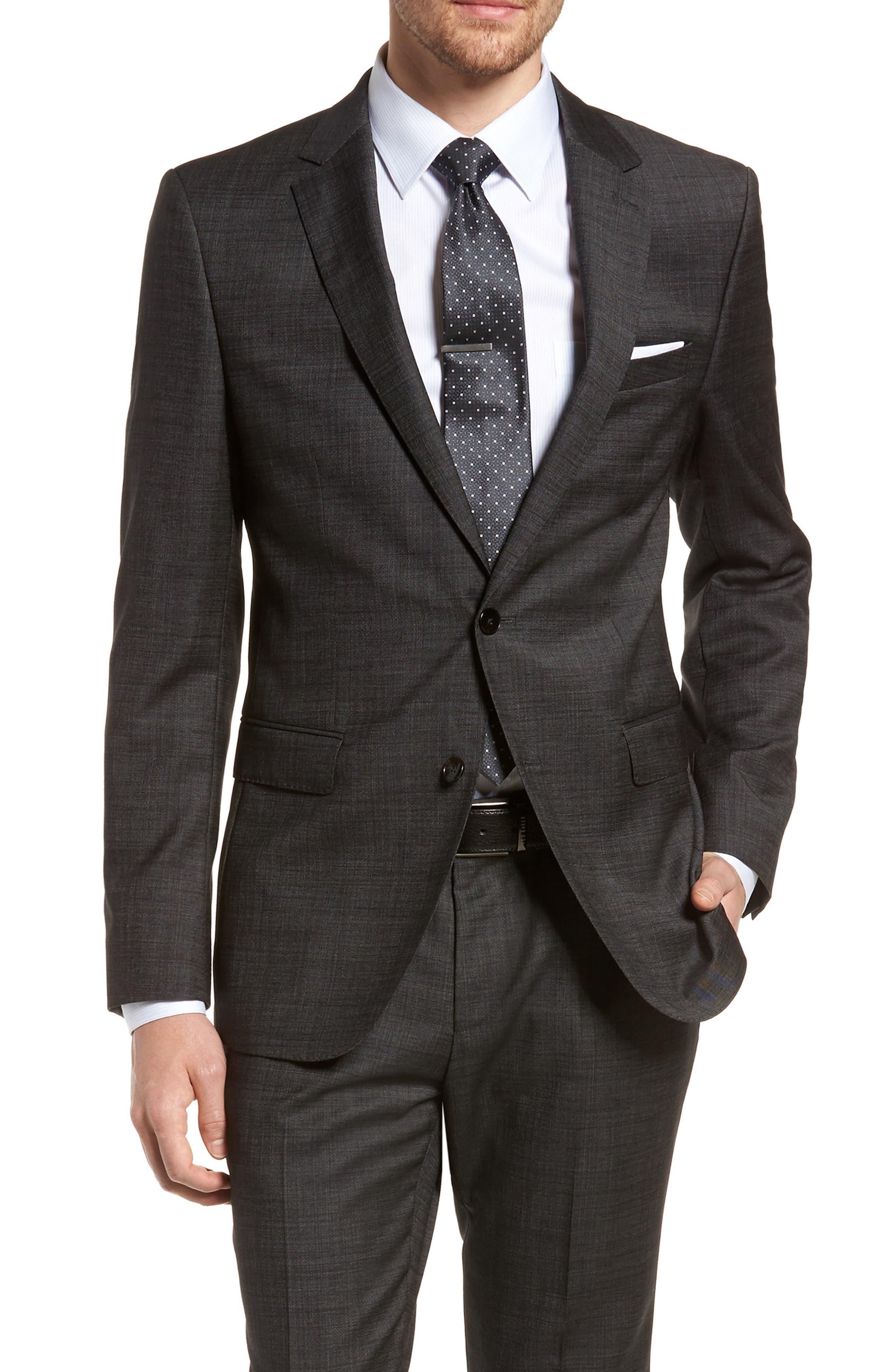 Novan/Ben Trim Fit Solid Wool Suit,                             Alternate thumbnail 4, color,                             Black