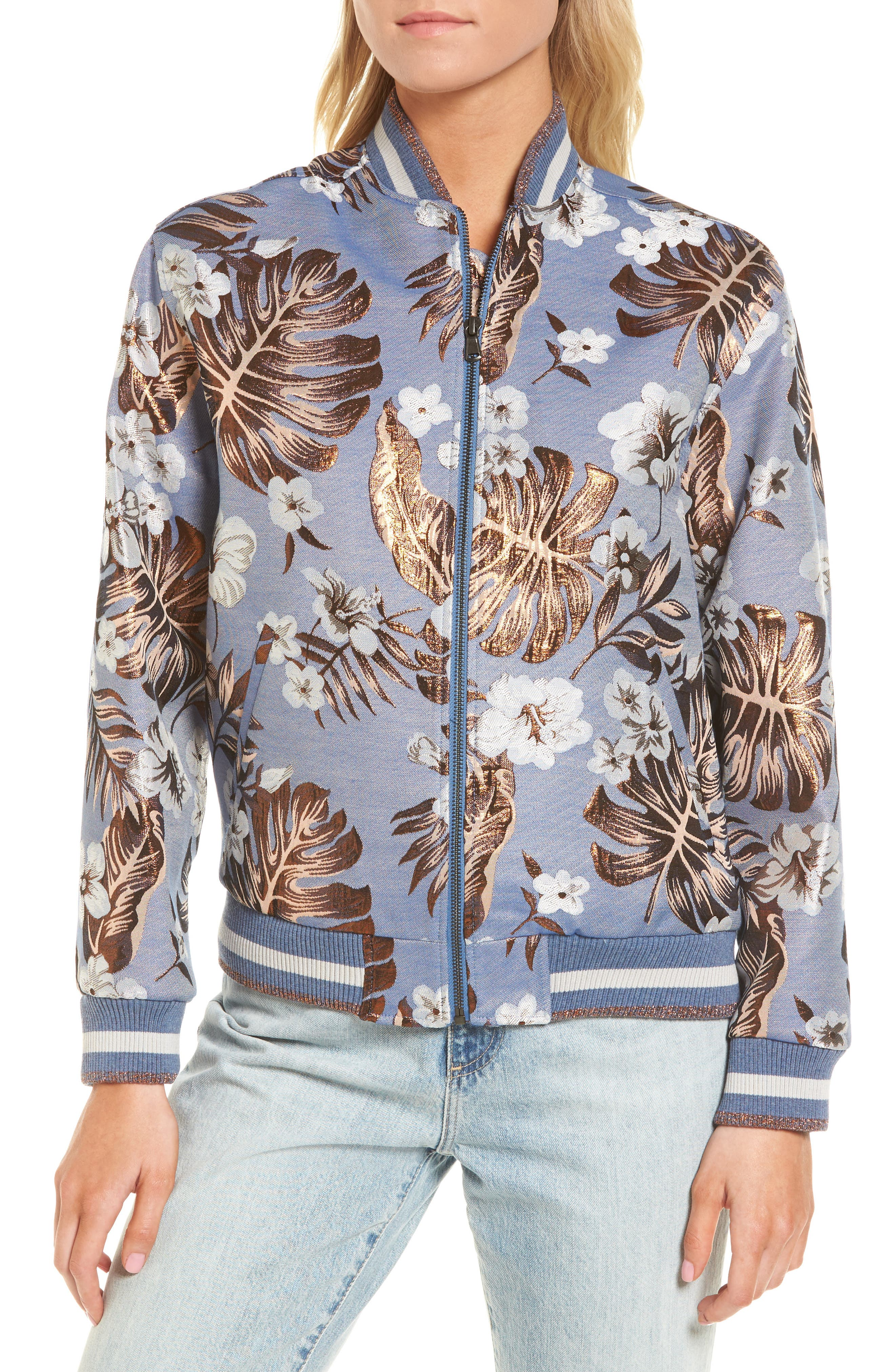 Hibiscus Jacket,                             Alternate thumbnail 4, color,                             Turquoise