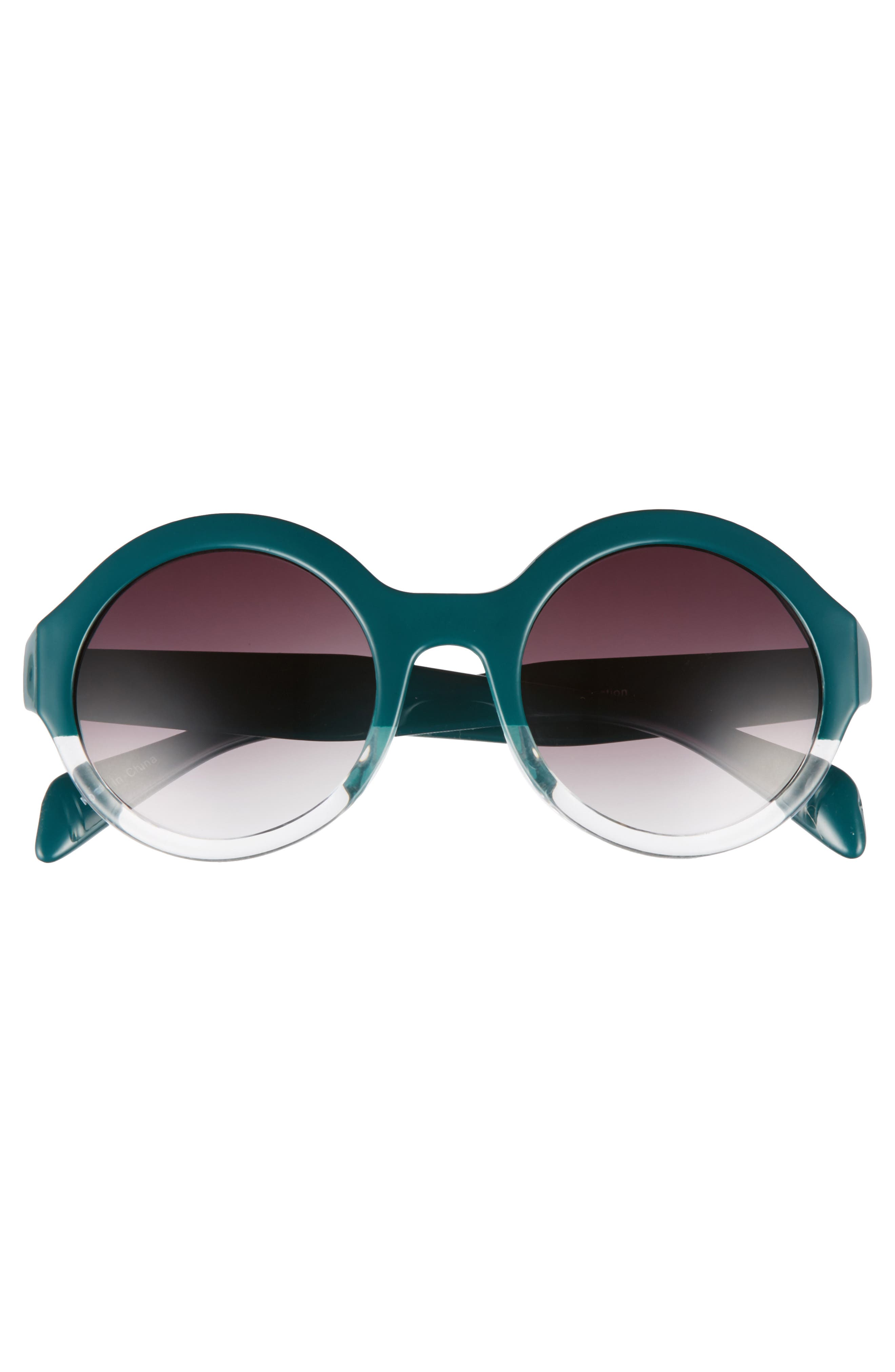 50mm Round 2 Tone Sunglasses,                             Alternate thumbnail 3, color,                             Emerald/ Clear