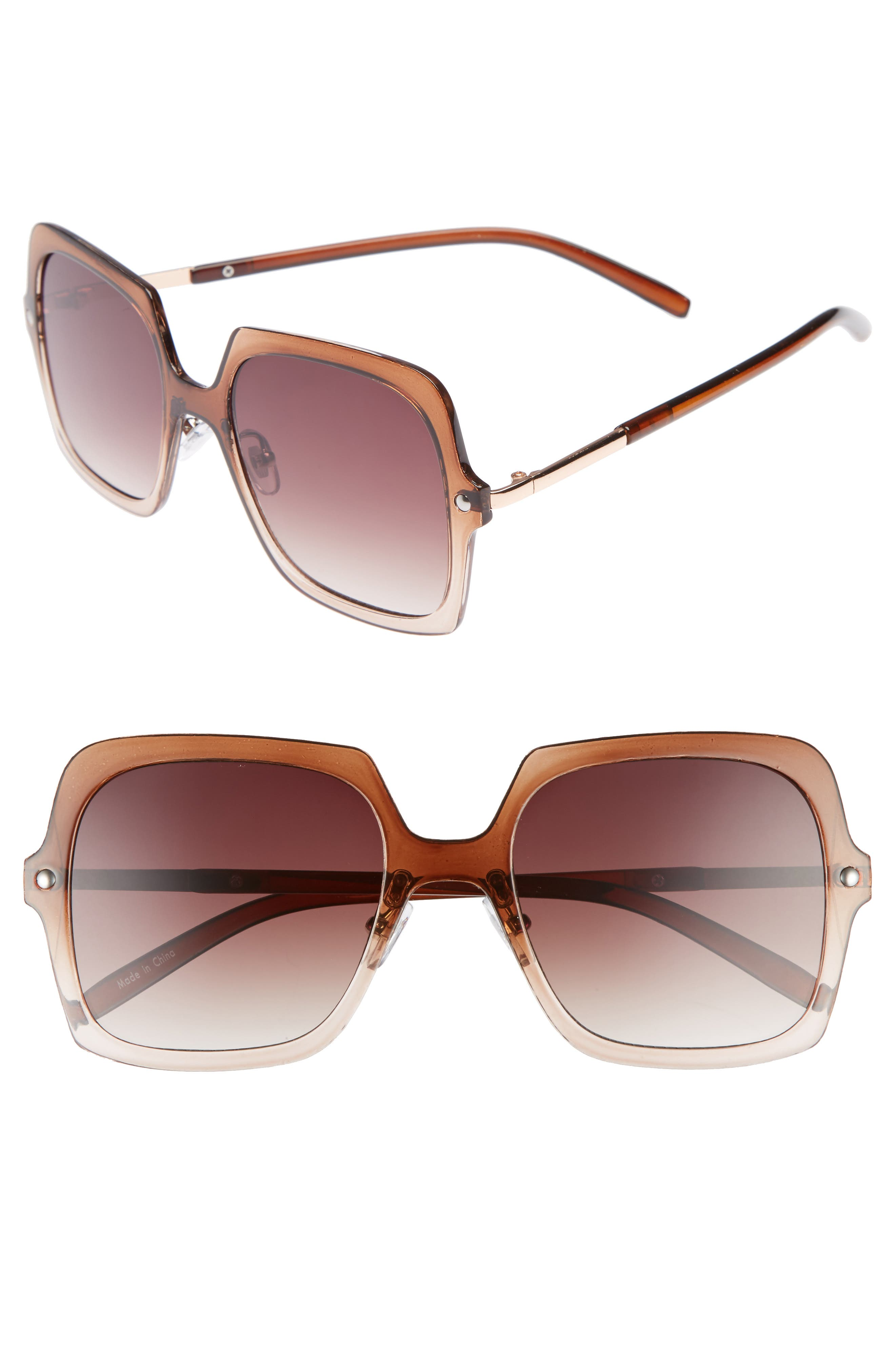 Translucent Square Sunglasses,                             Main thumbnail 1, color,                             Ombre Brown