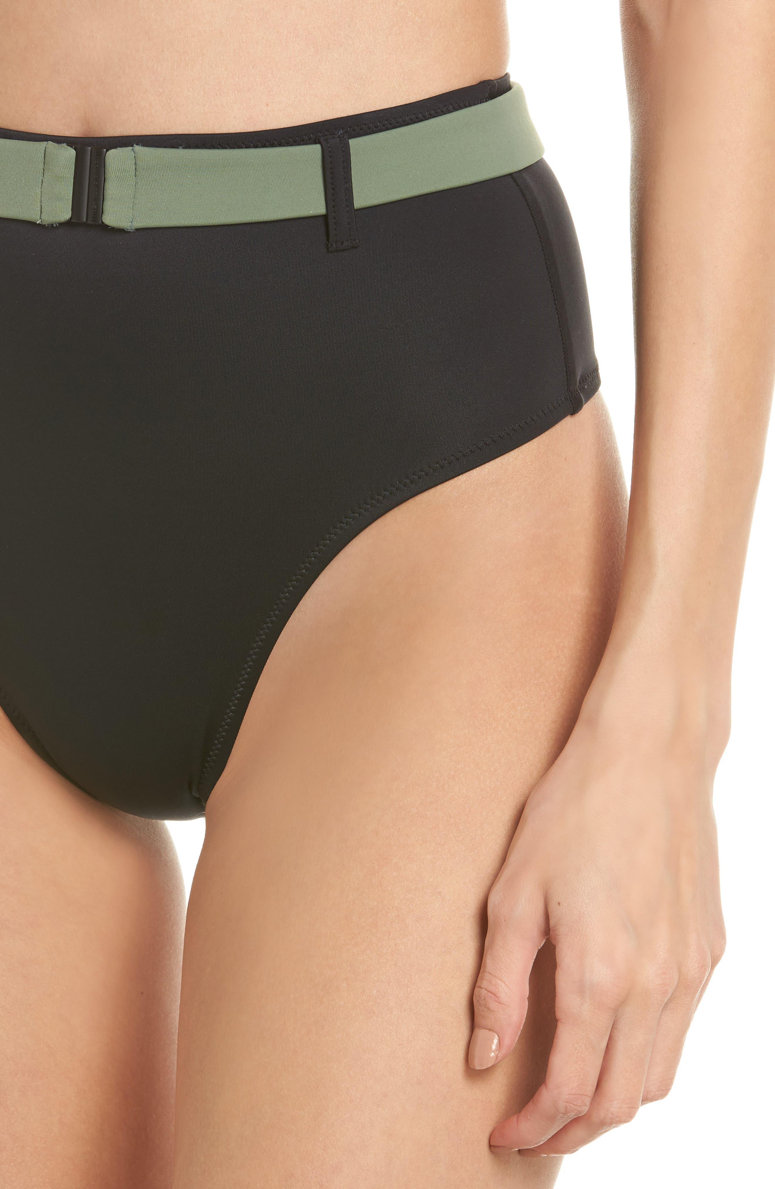 The Josephine High Waist Bikini Bottoms,                             Alternate thumbnail 4, color,                             Black
