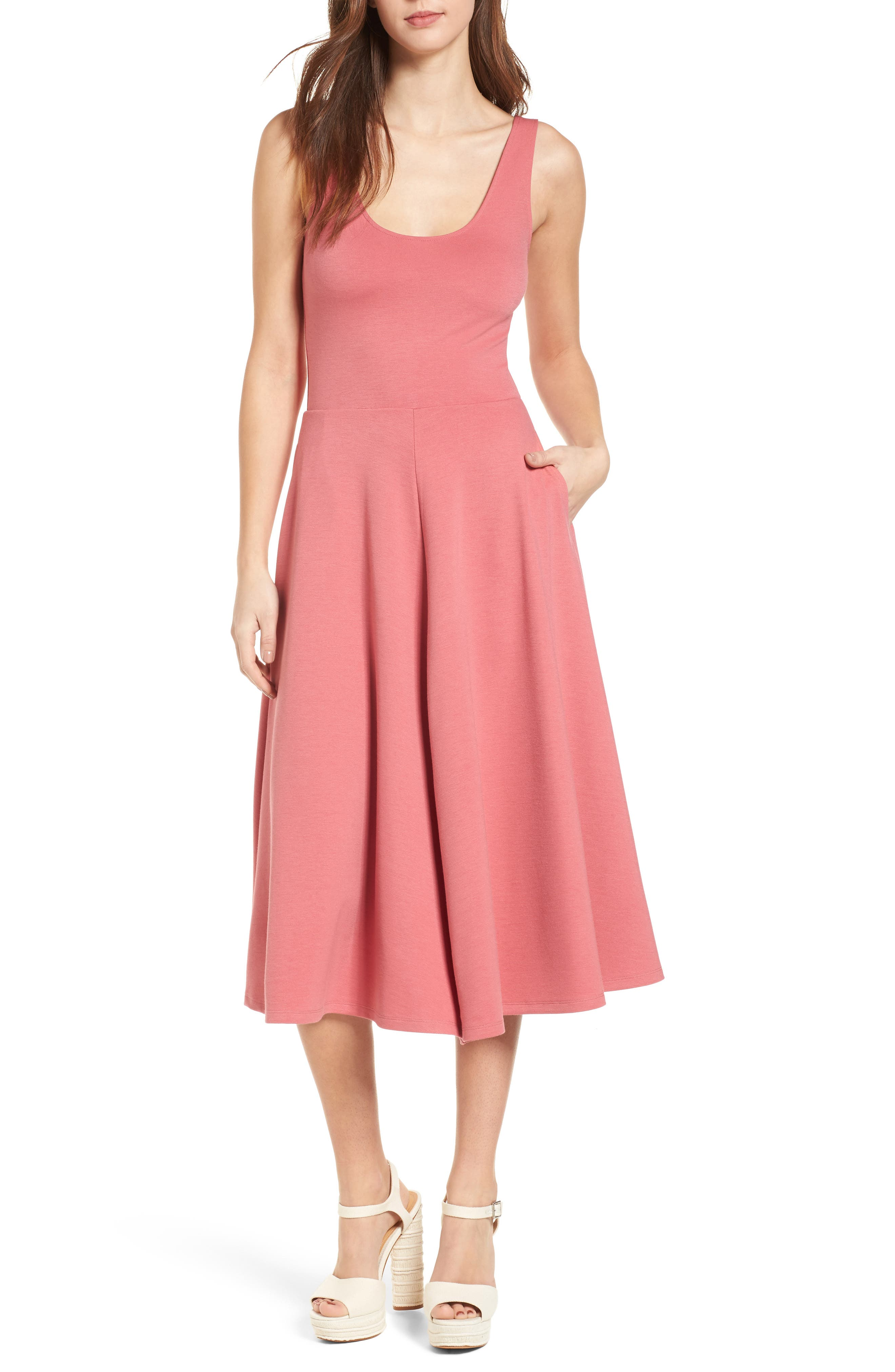 Stretch Knit Midi Dress,                         Main,                         color, Red Baroque