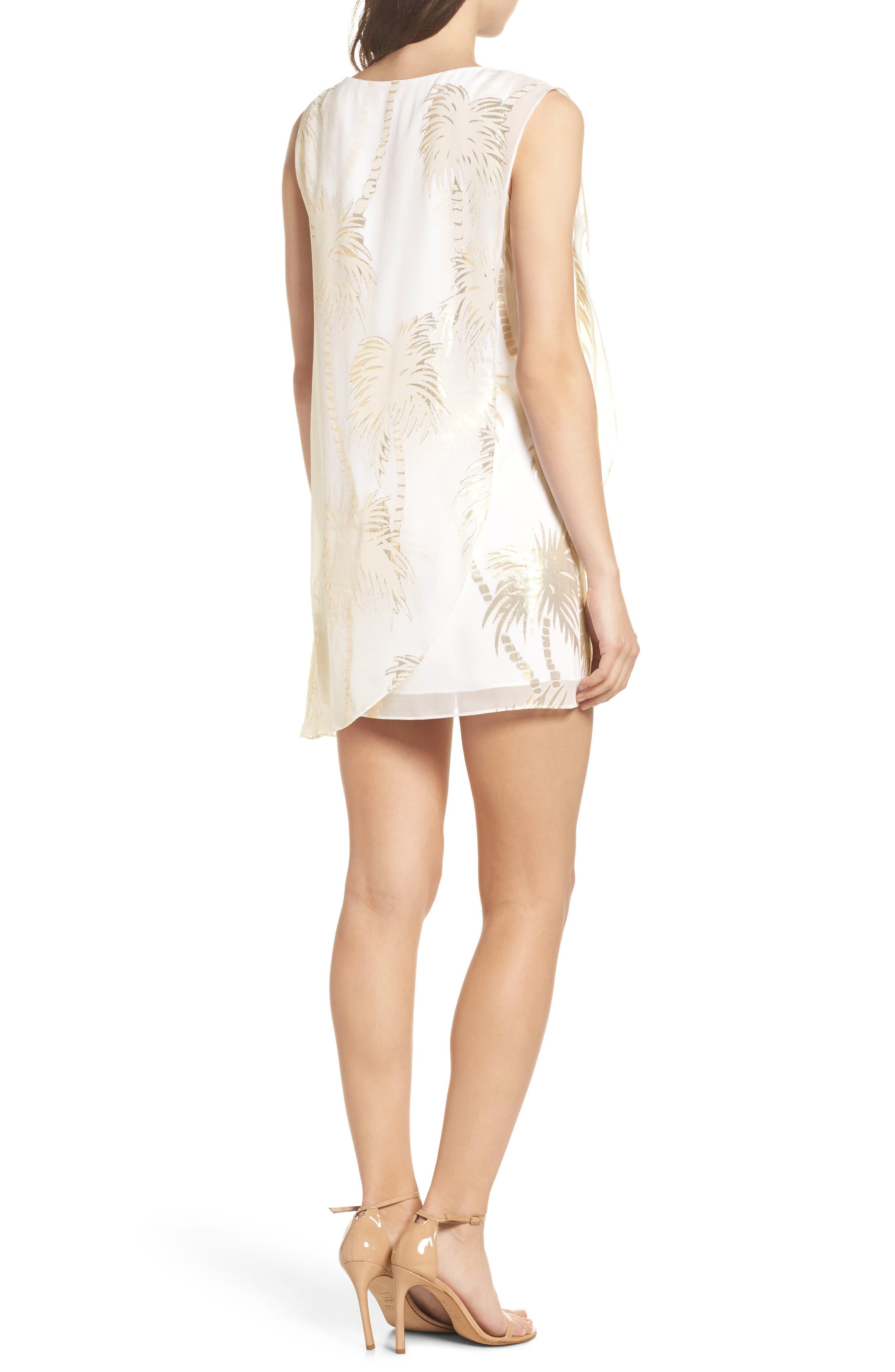 Calissa Silk Dress,                             Alternate thumbnail 2, color,                             Resort White Palm Tree Clip
