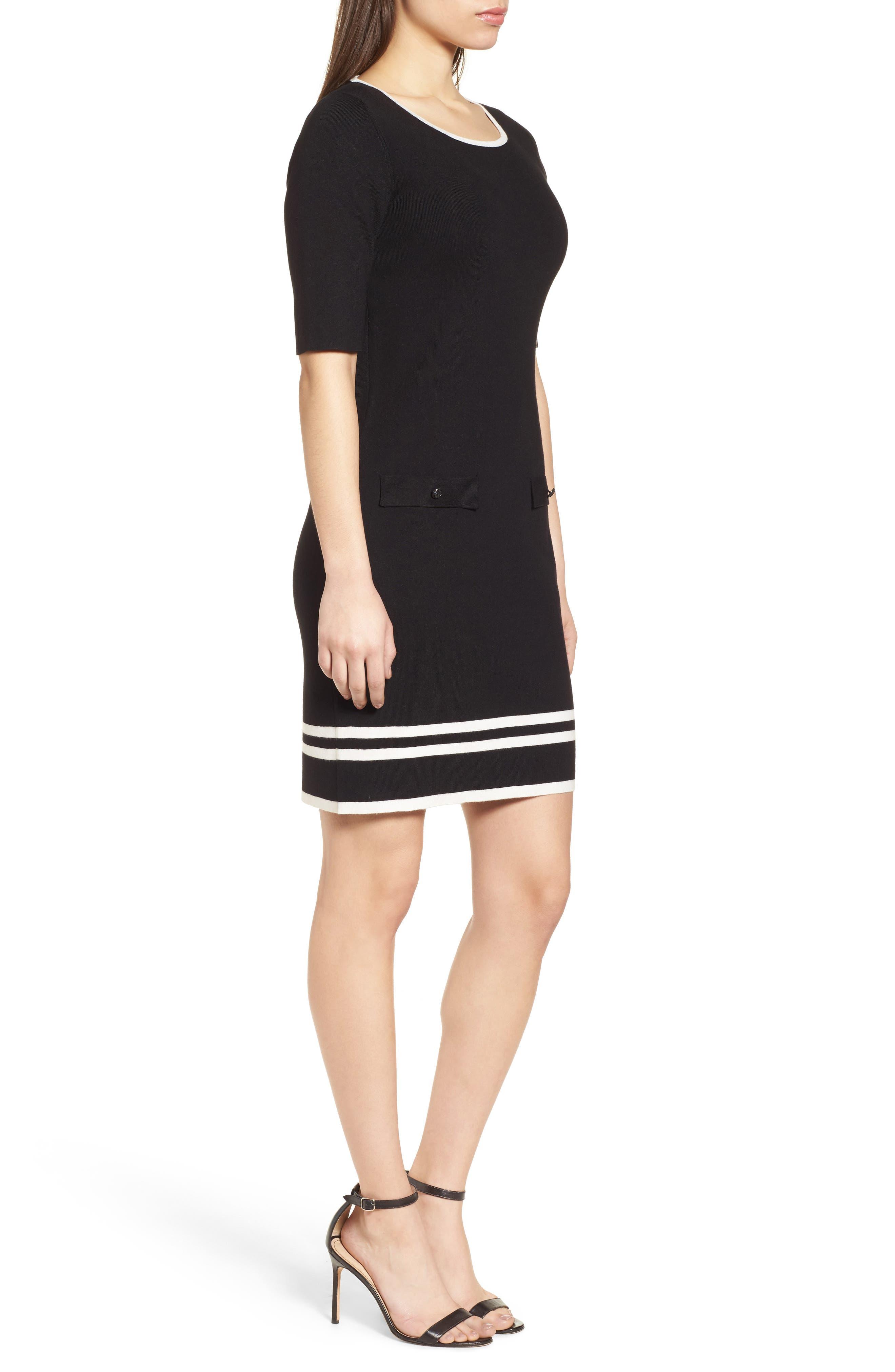 Ann Klein New York Stripe Border Knit Sheath Dress,                             Alternate thumbnail 3, color,                             Black/ White