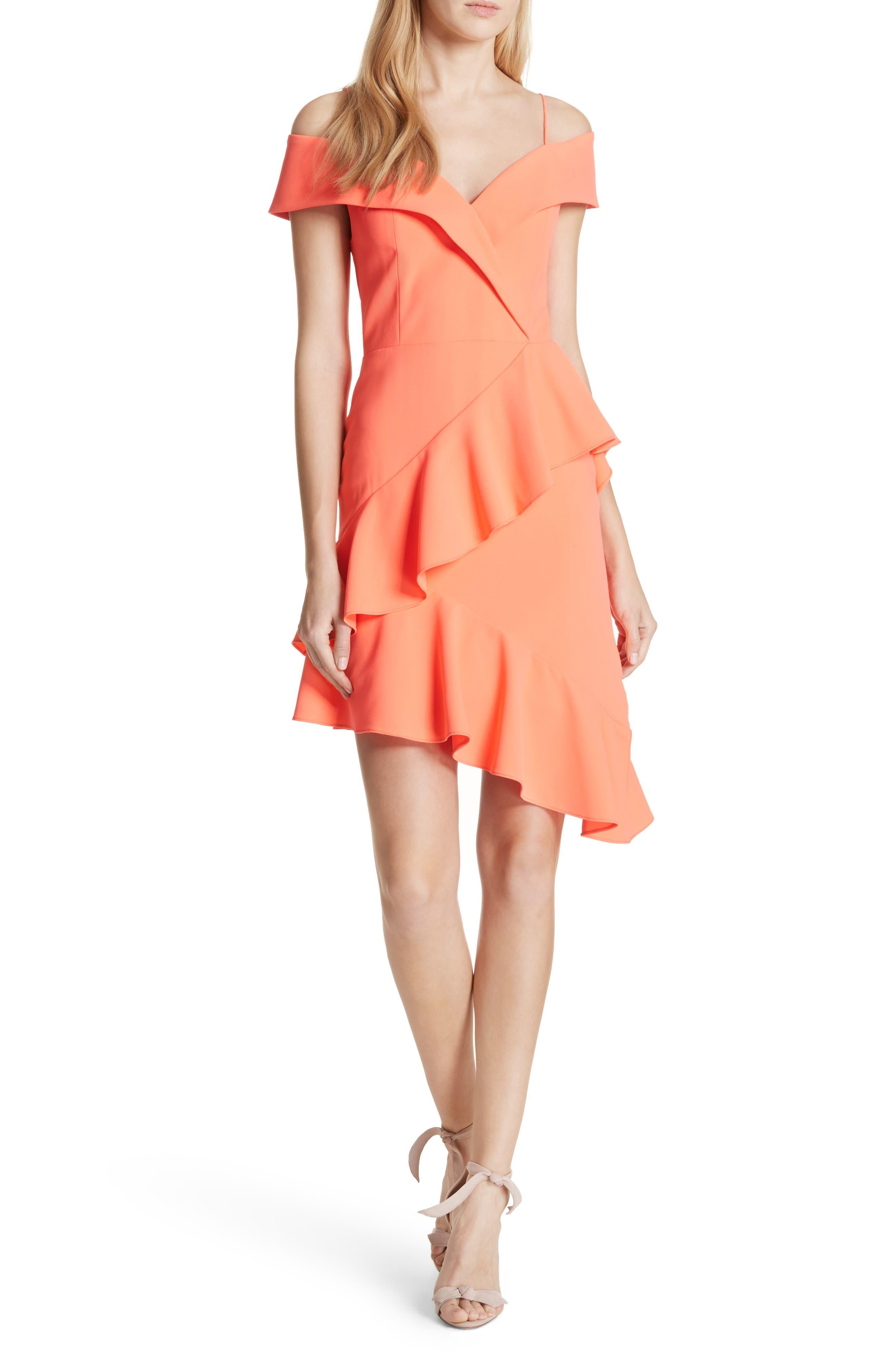 Vita Cold Shoulder Dress,                             Main thumbnail 1, color,                             Neon Coral