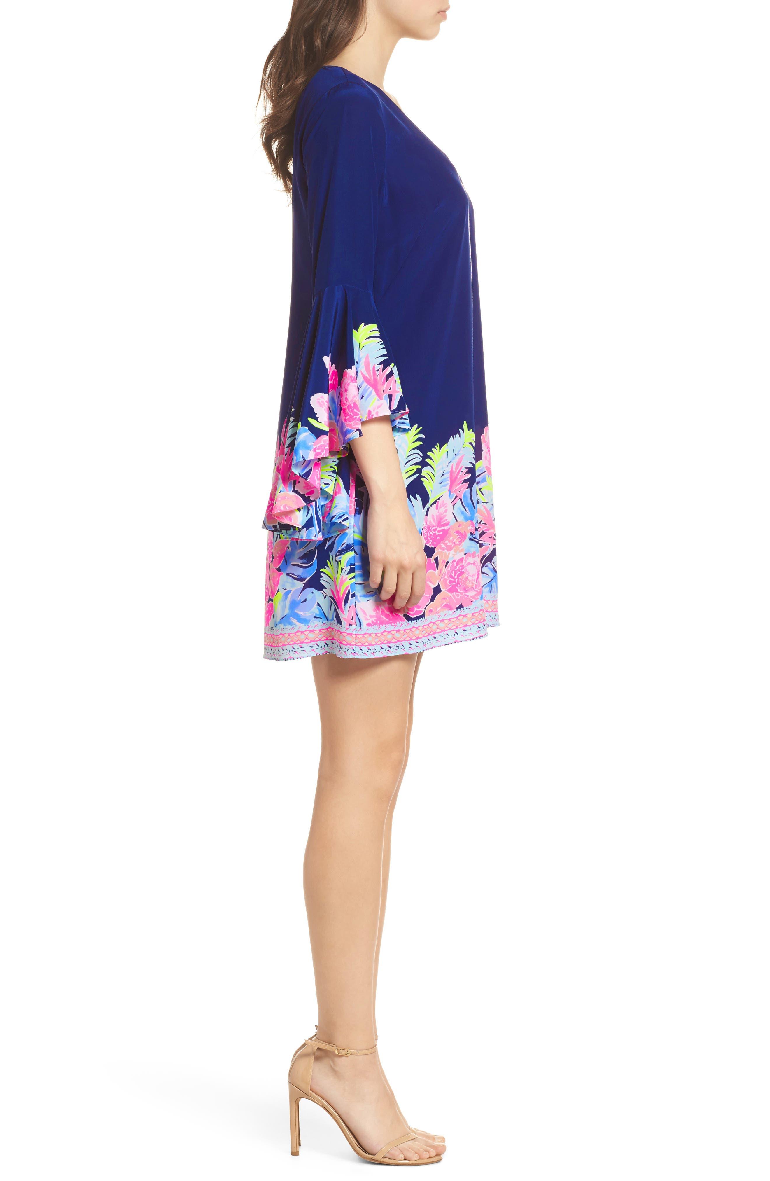 Rosalia Bell Sleeve Silk A-Line Dress,                             Alternate thumbnail 3, color,                             High Tide Tropicolada