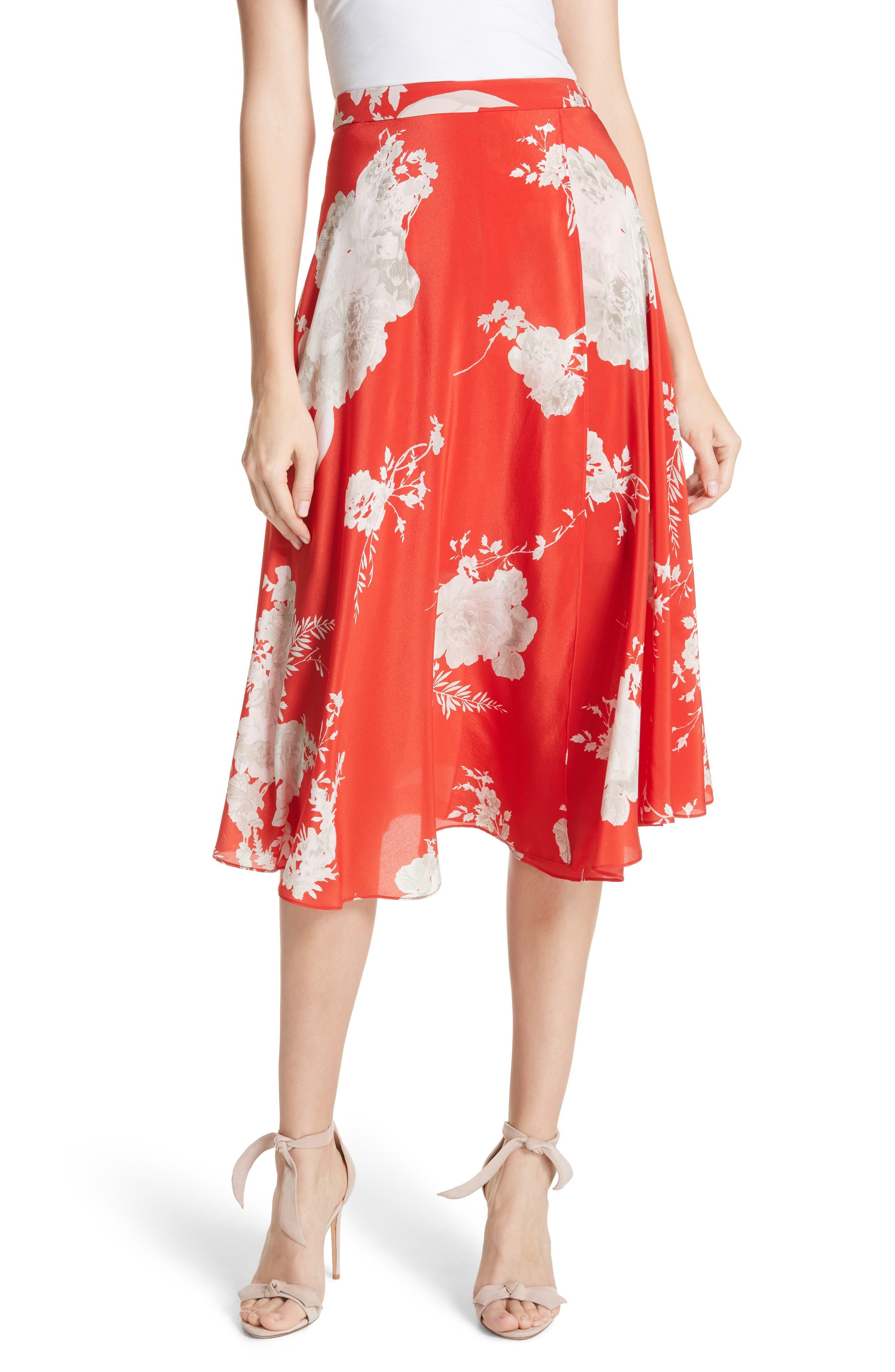 Nanette Faux Wrap Floral Silk Skirt,                         Main,                         color, Damask Rose- Poppy