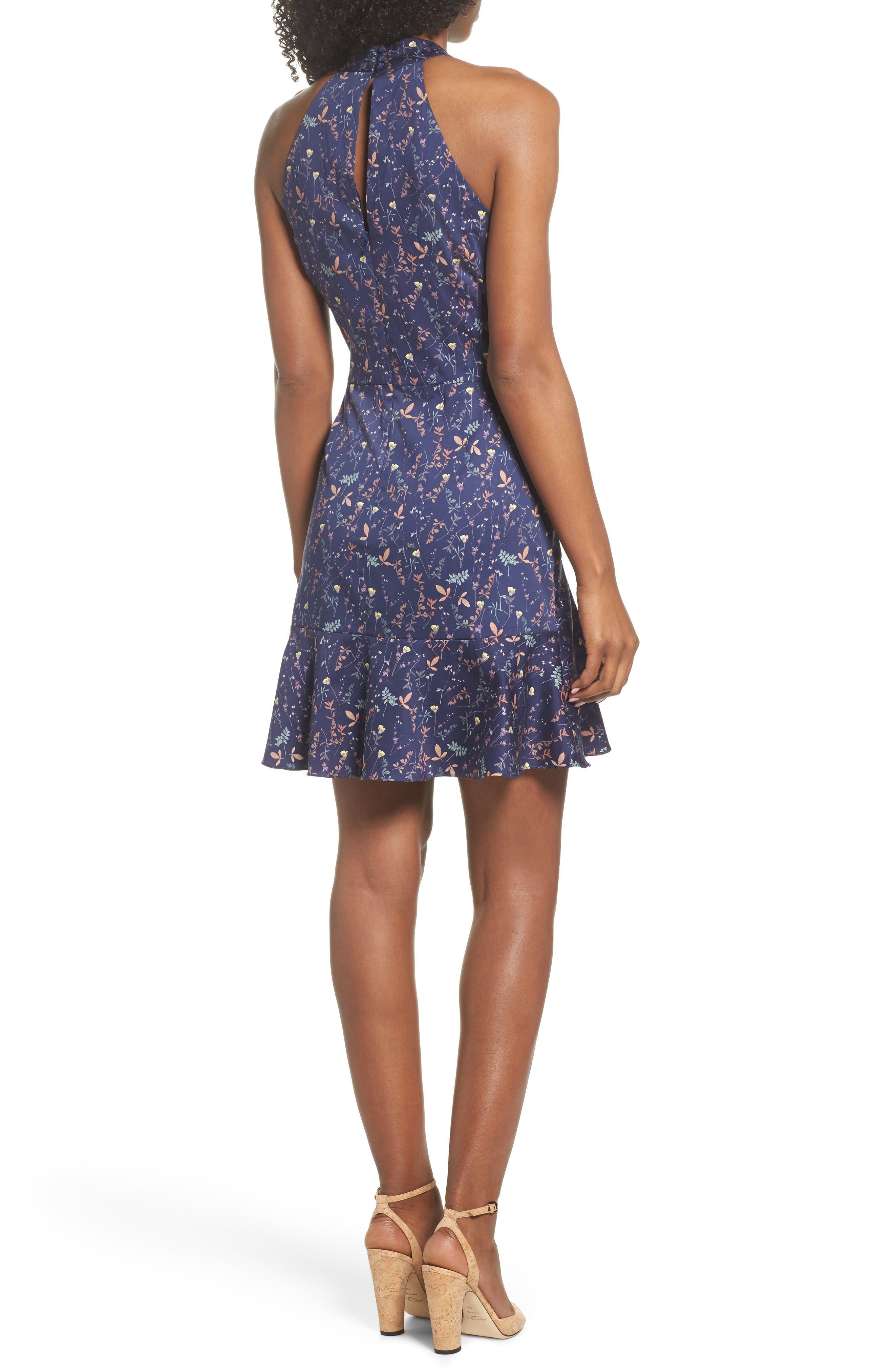 Halter Fit & Flare Dress,                             Alternate thumbnail 2, color,                             Eclipse