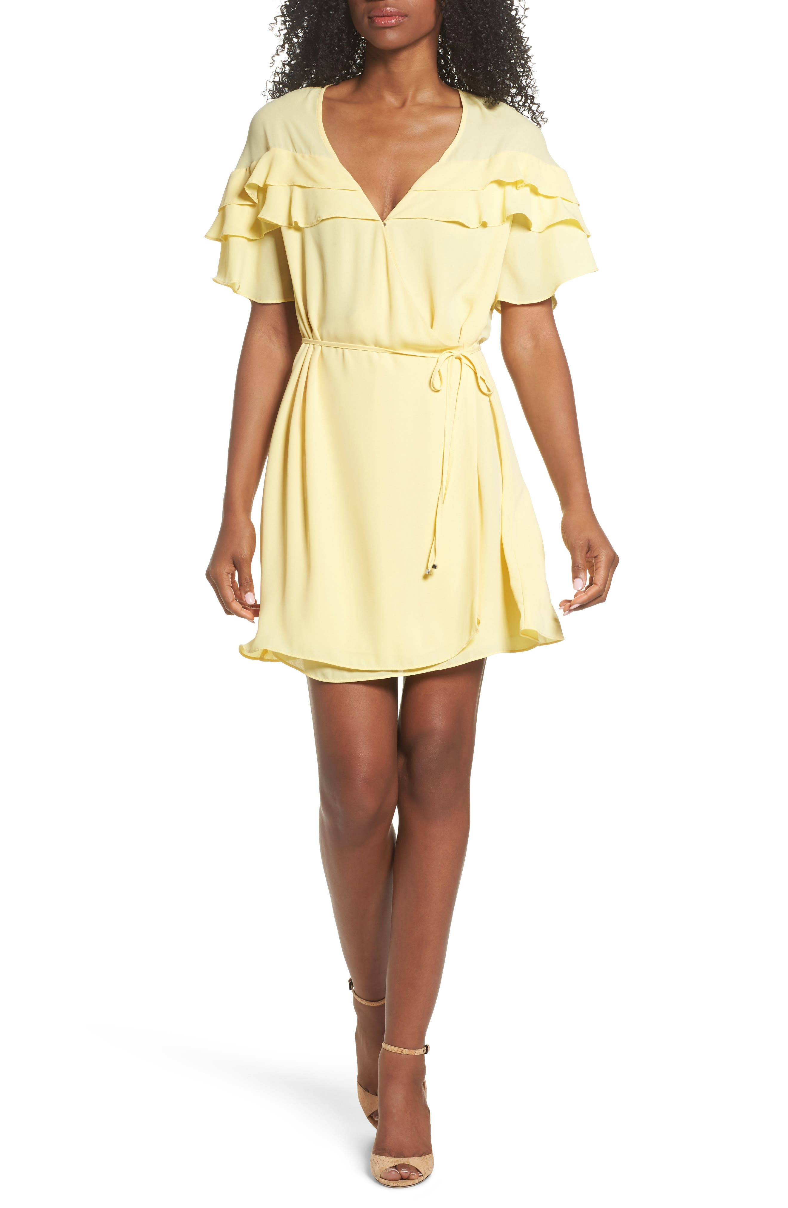 Forest Lily Ruffle Wrap Dress