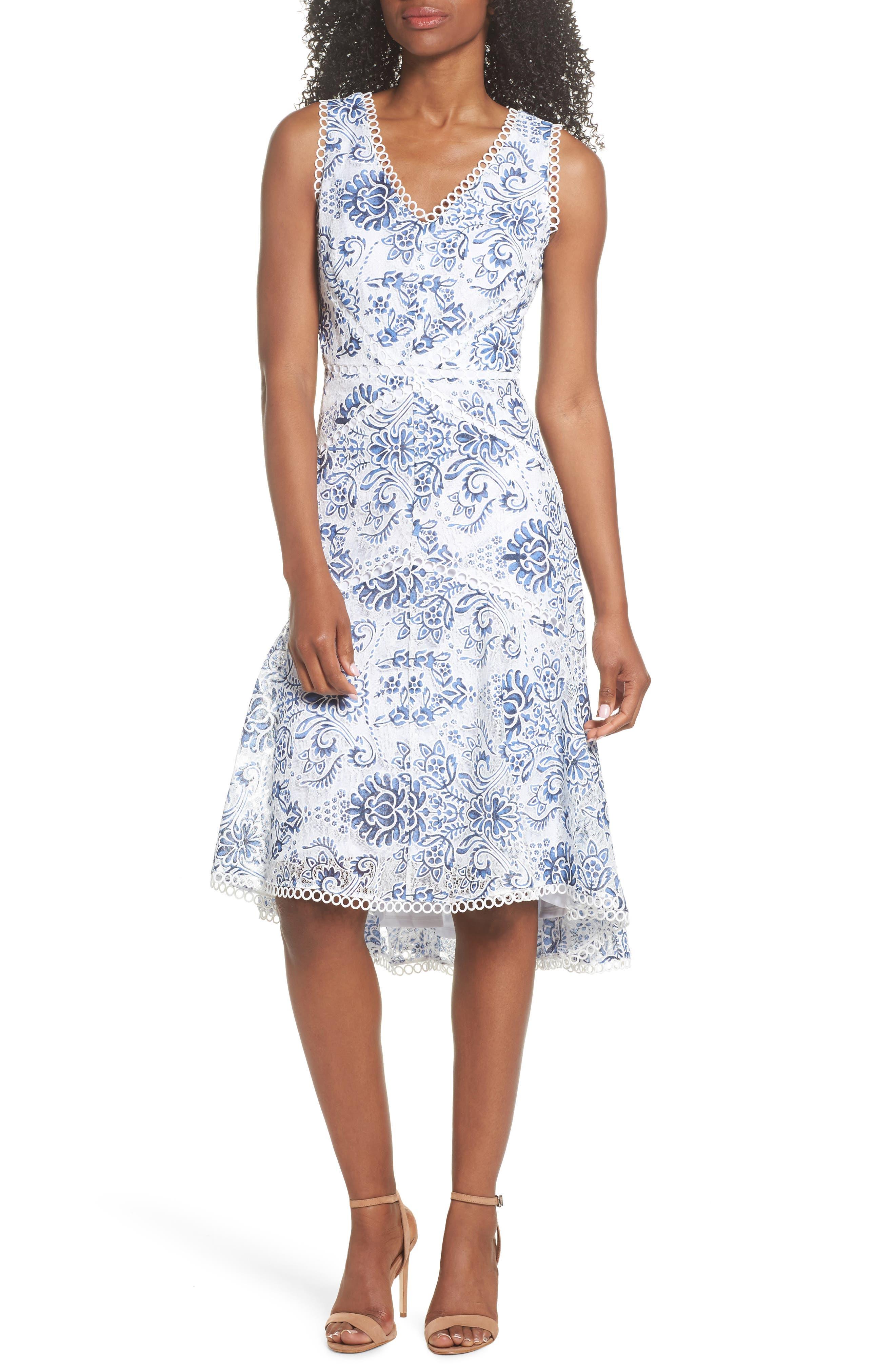 Burnout Lace Midi Dress,                         Main,                         color, Blue White