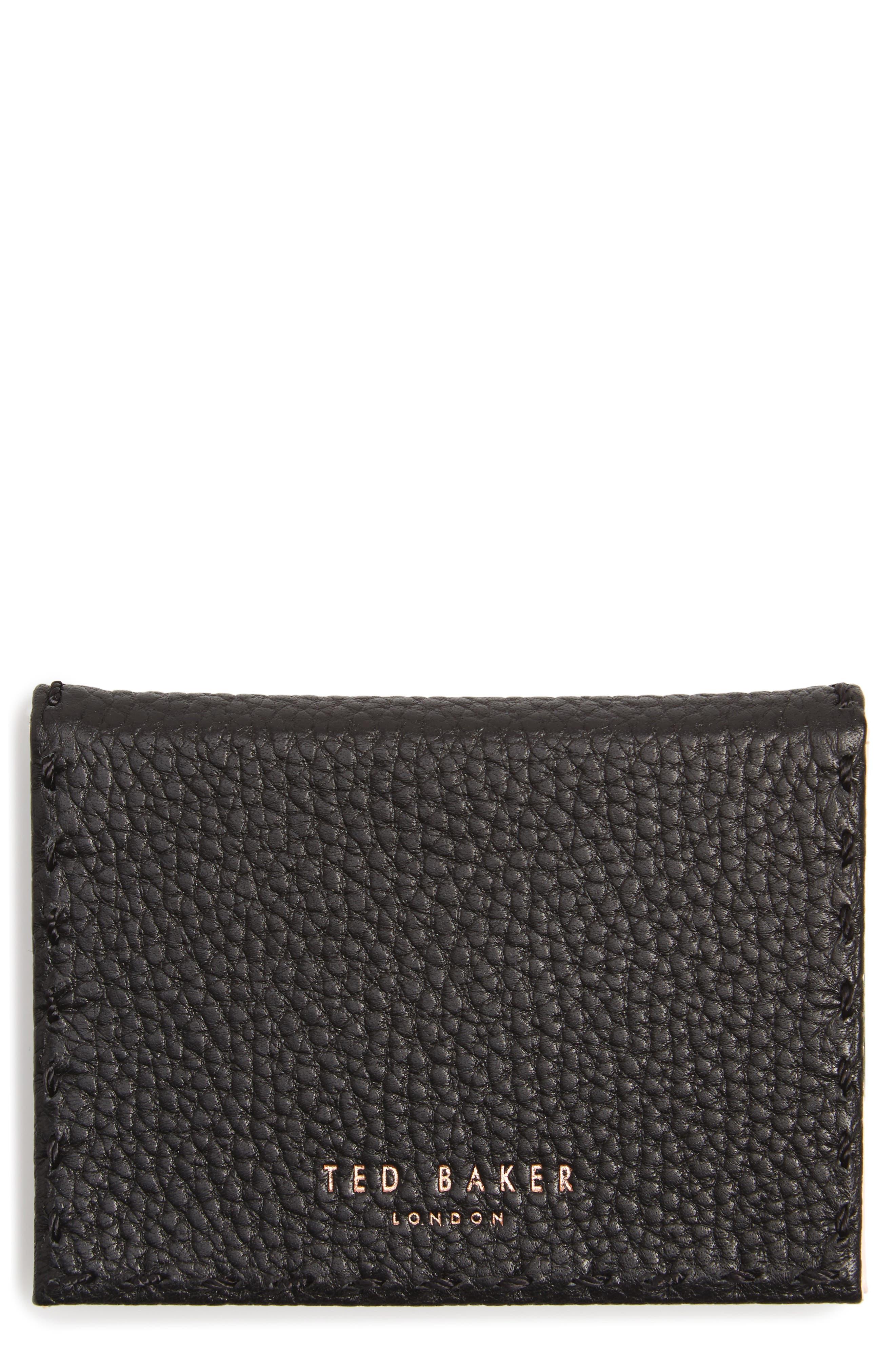 Hermina Leather Card Case,                             Main thumbnail 1, color,                             Black