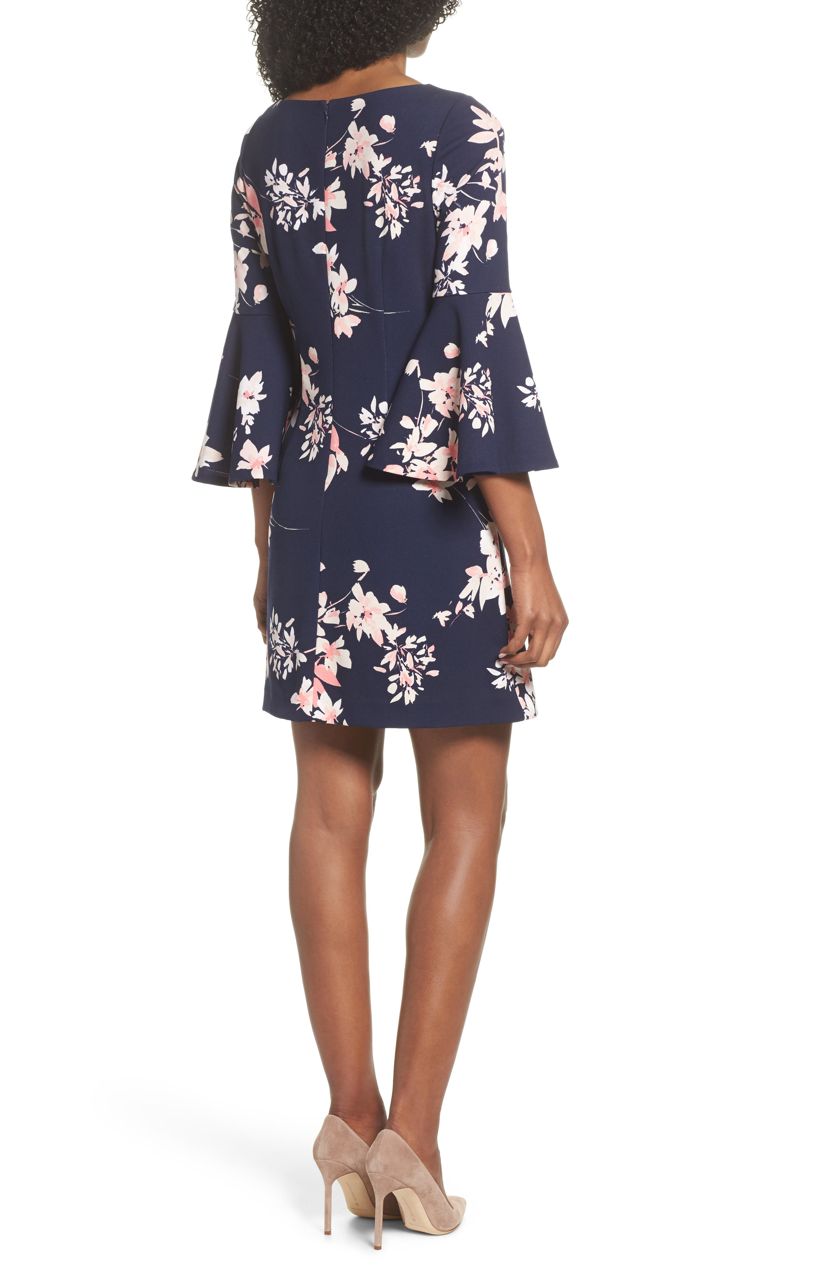 Floral Bell Sleeve Dress,                             Alternate thumbnail 2, color,                             Navy/ Pink