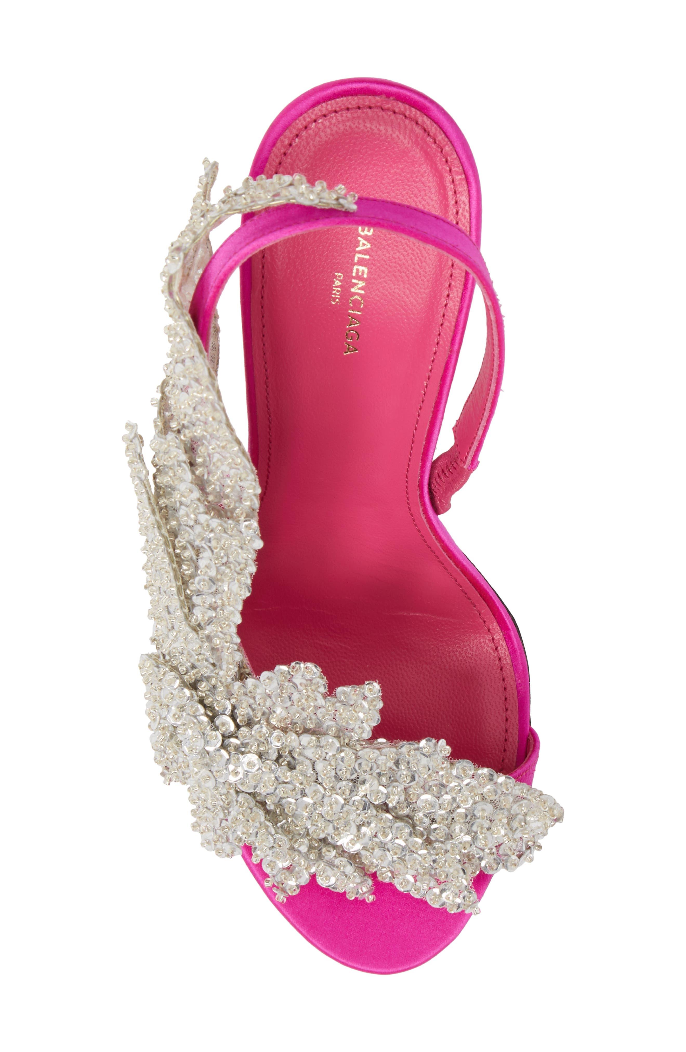 Embellished Slingback Sandal,                             Alternate thumbnail 5, color,                             Rose Fuchsia/ Crystal