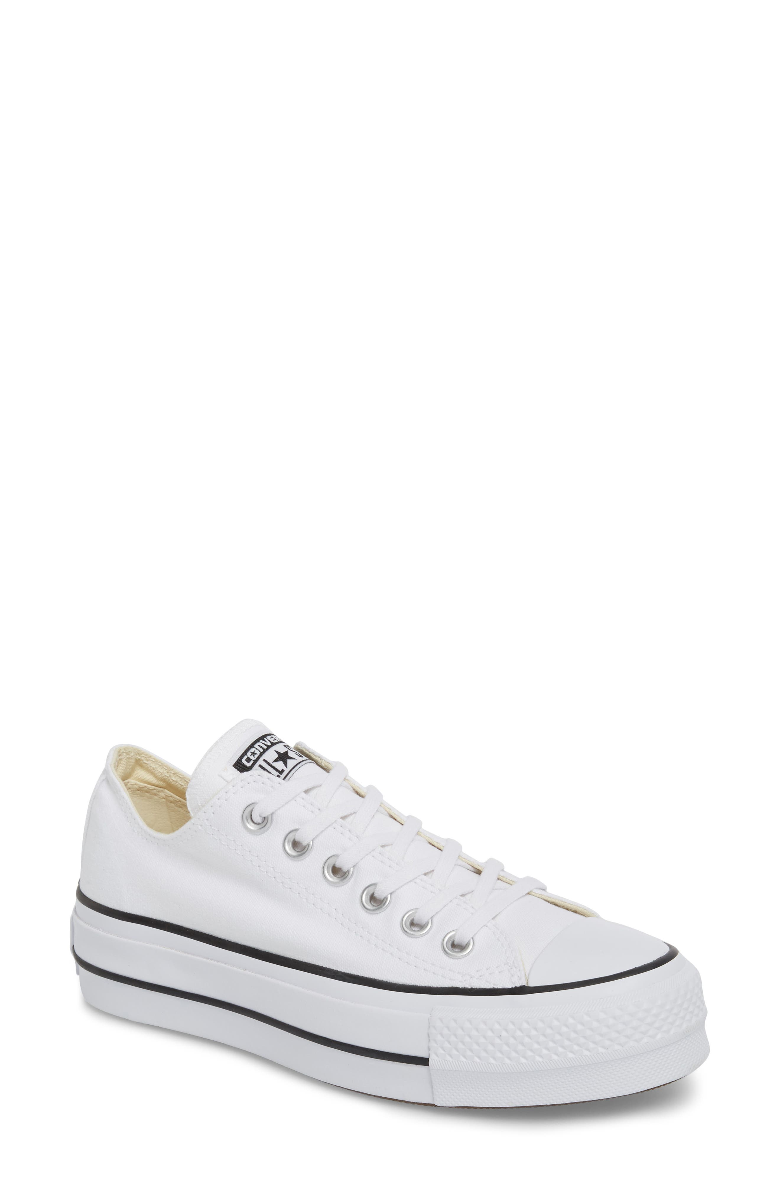 Chuck Taylor<sup>®</sup> All Star<sup>®</sup> Platform Sneaker,                             Main thumbnail 1, color,                             White/ Black/ White