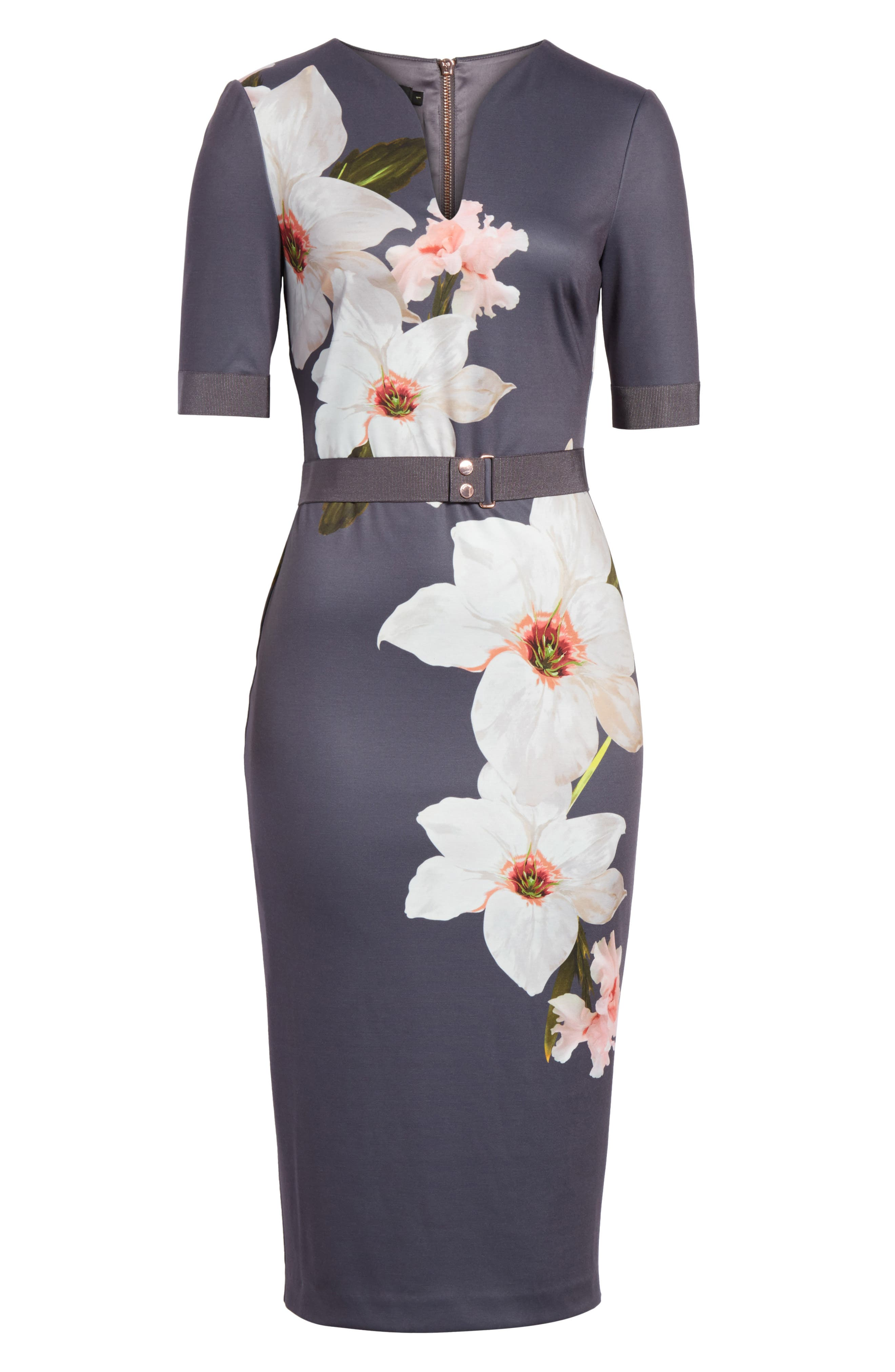 Floral Print Belted Body-Con Dress,                             Alternate thumbnail 6, color,                             Grey