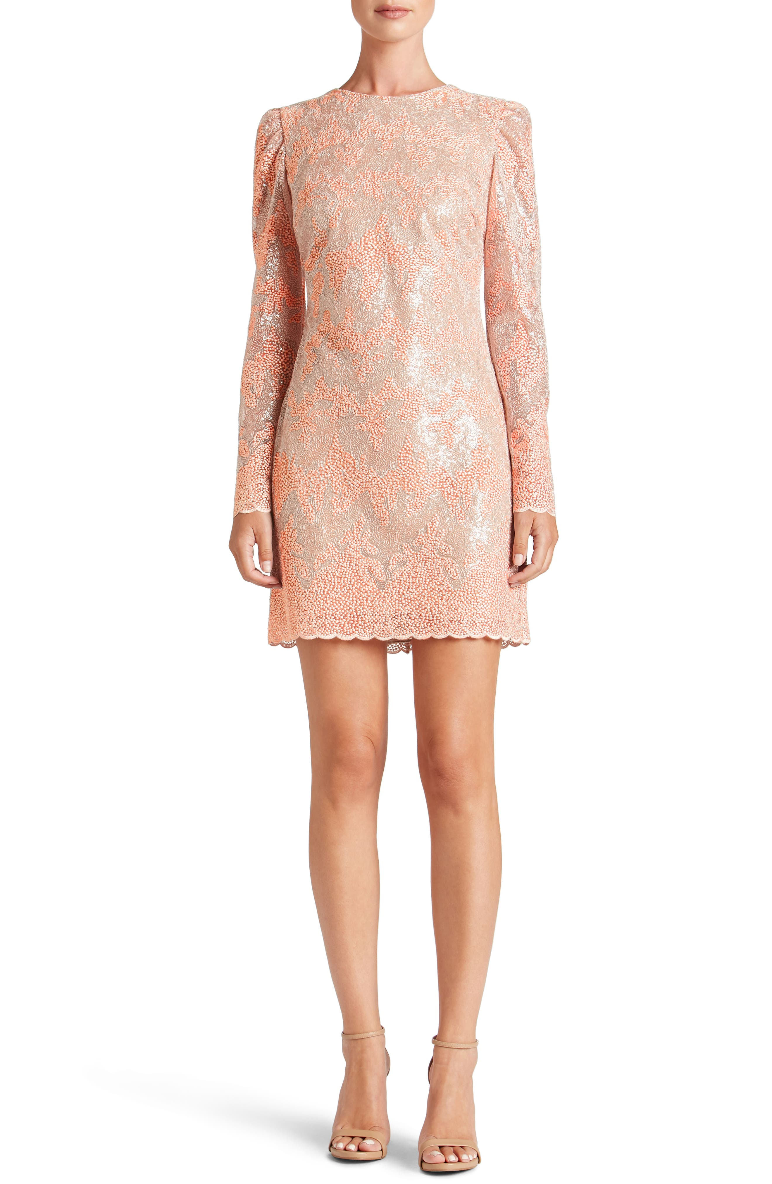 Aubry Sequin Embellished Shift Dress,                             Main thumbnail 1, color,                             Blush