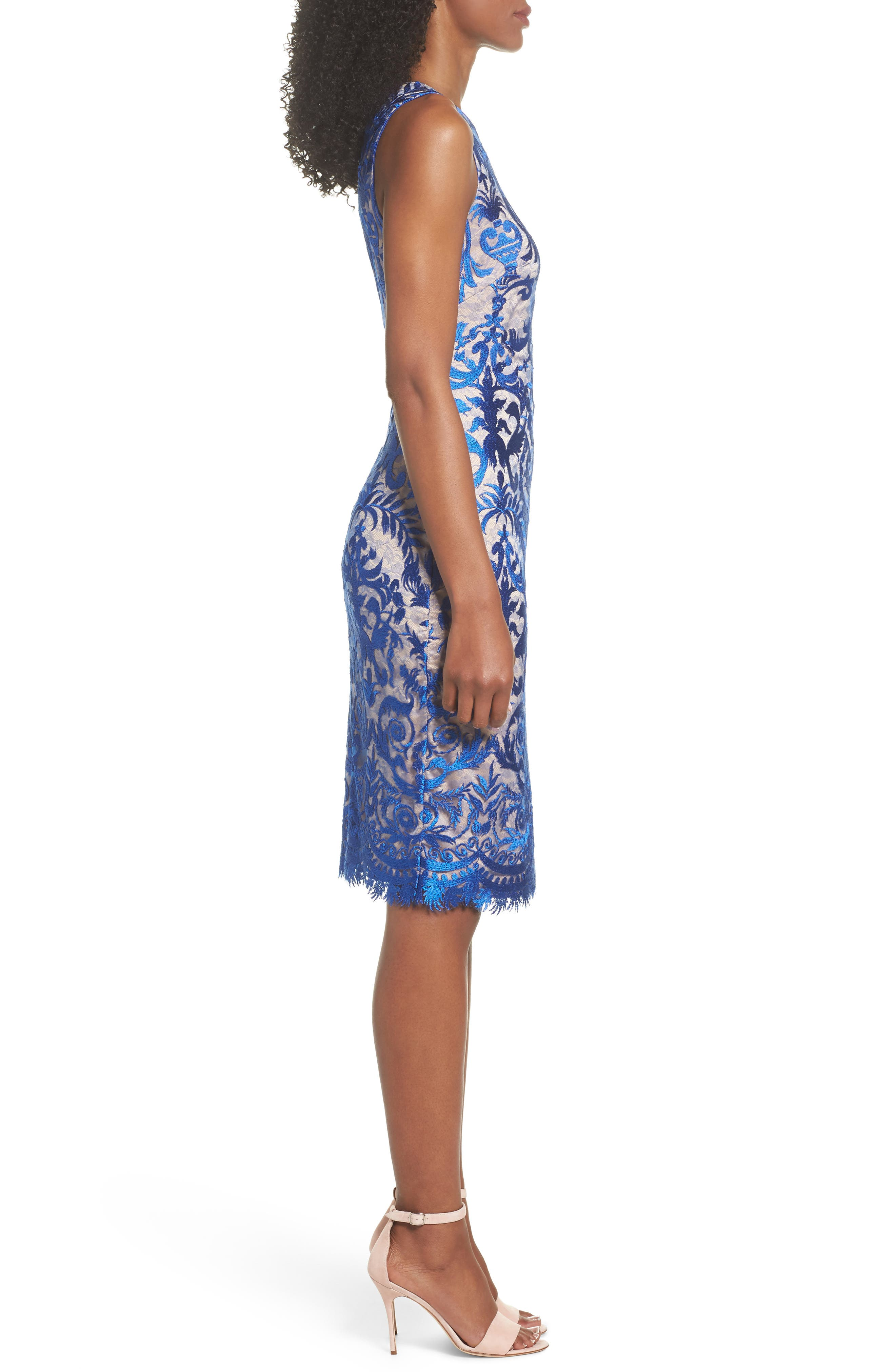 Embroidered Mesh Sheath Dress,                             Alternate thumbnail 3, color,                             Royal