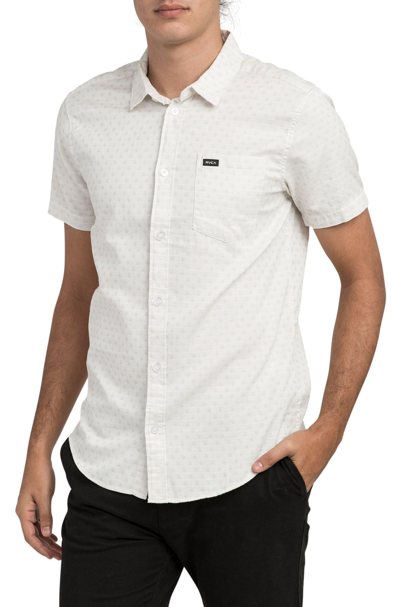 E Dot Woven Shirt,                         Main,                         color, Antique White