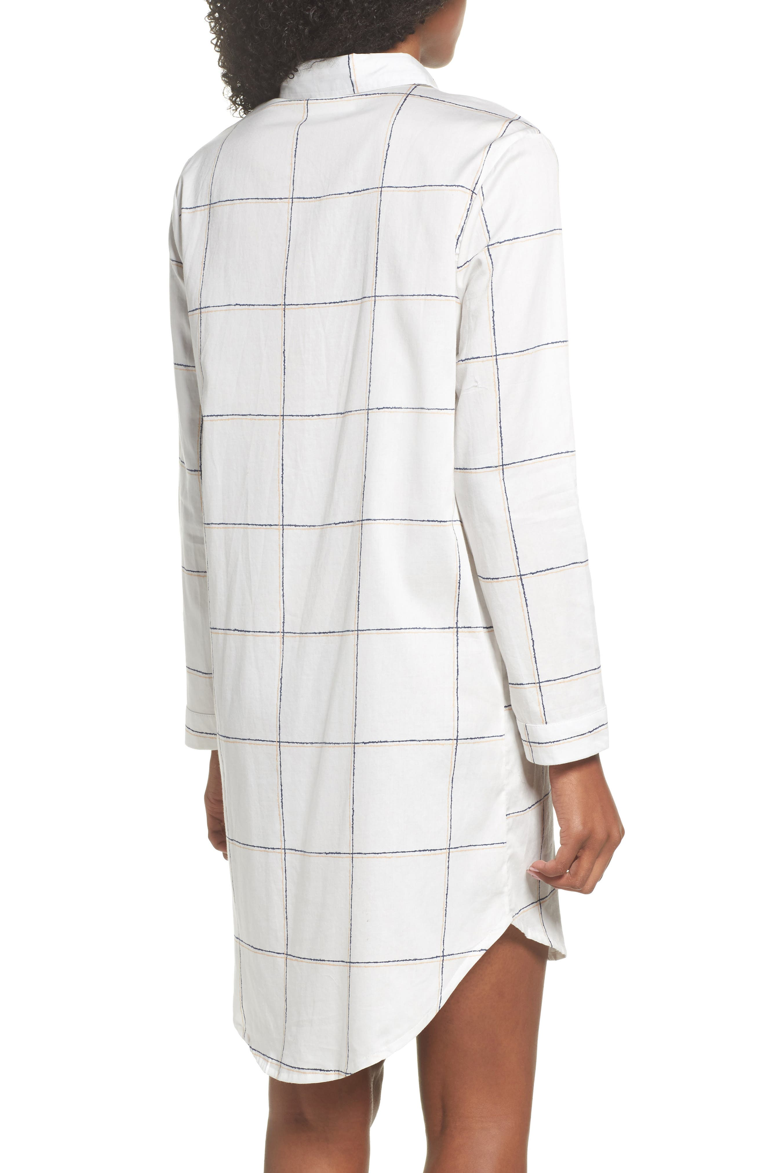 Evey Nightshirt,                             Alternate thumbnail 2, color,                             Coffee Check White